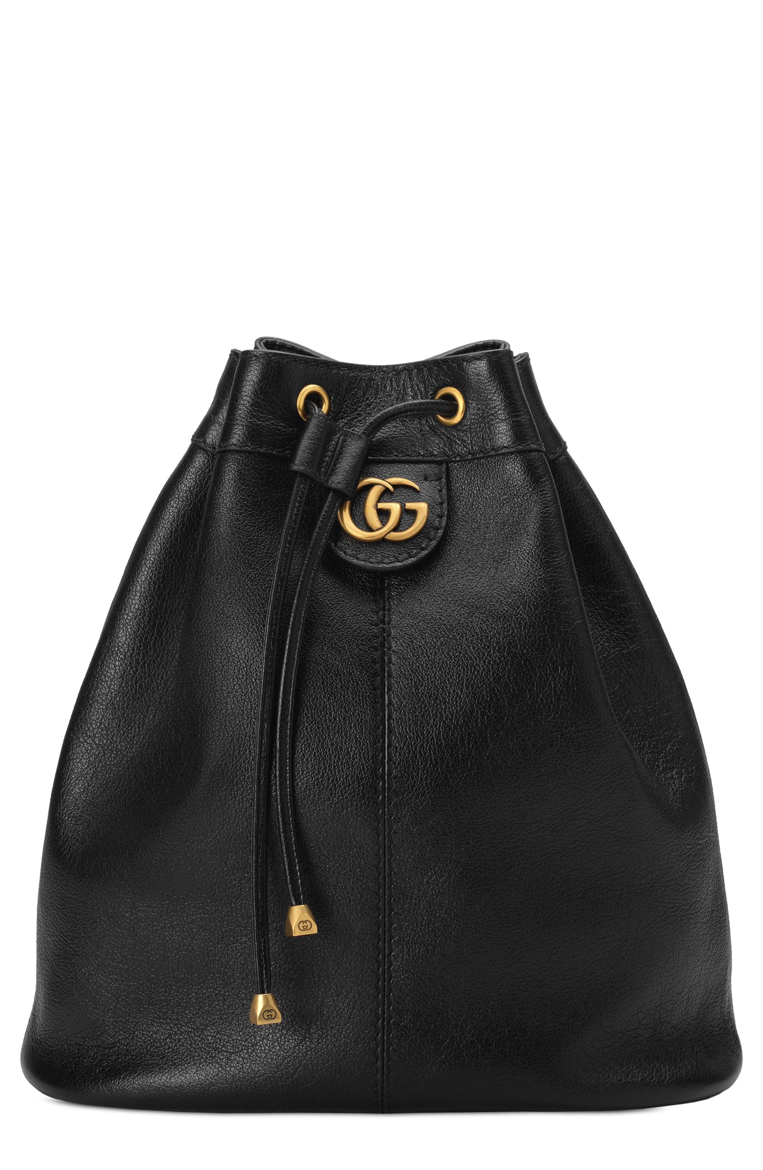 Medium RE(BELLE) Leather Convertible Bucket Bag,                             Main thumbnail 1, color,                             001