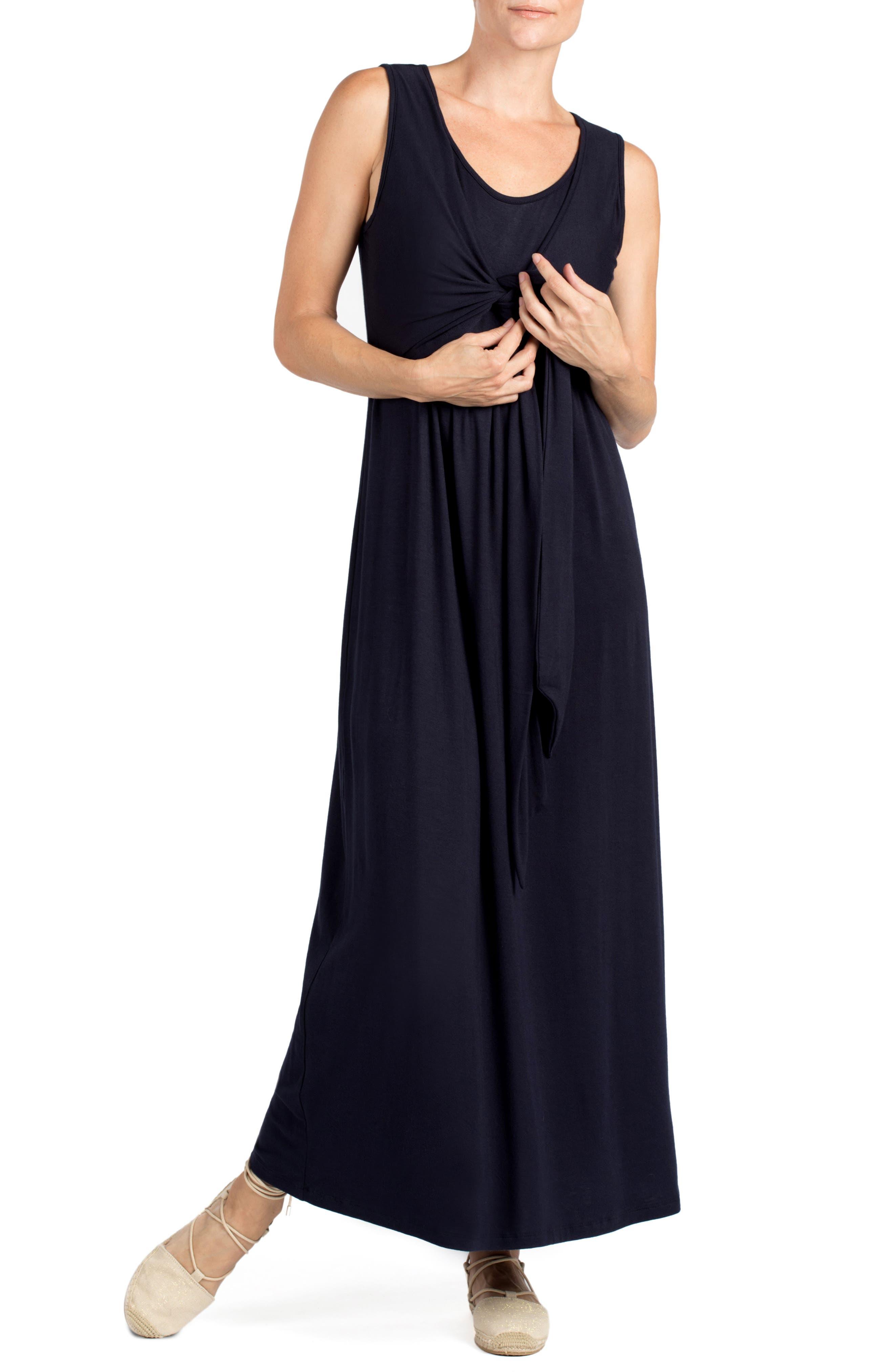 Modesto Maternity/Nursing Maxi Dress,                             Alternate thumbnail 3, color,                             NAVY