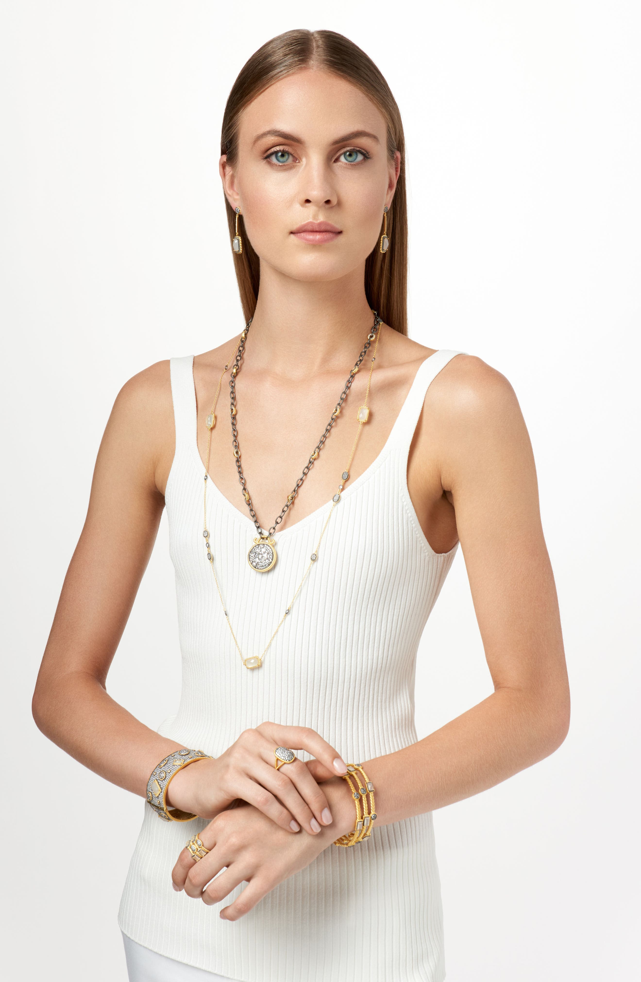 Gilded Cable Stone & Pavé Long Station Necklace,                             Alternate thumbnail 2, color,                             710