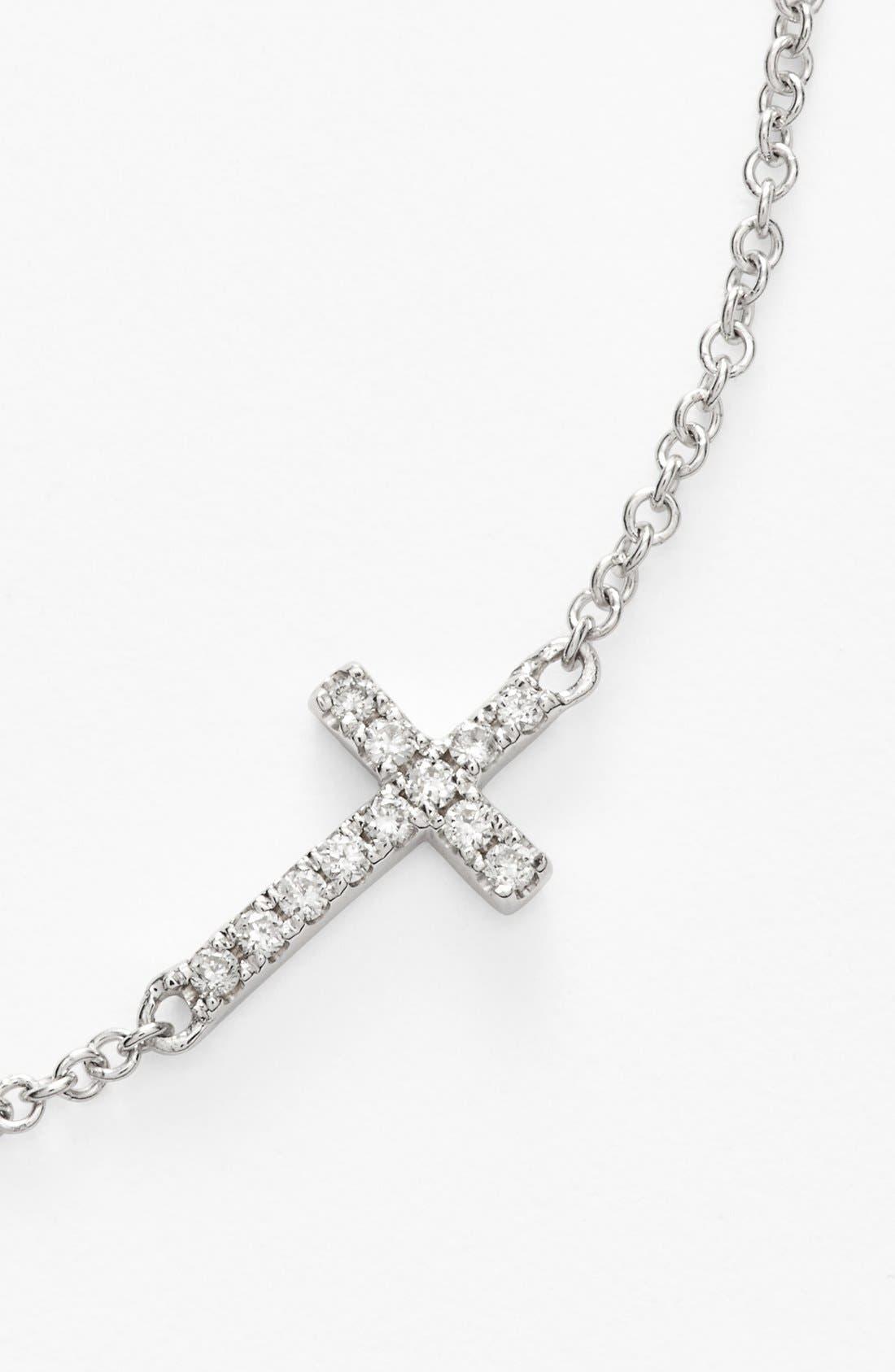 Reversible Diamond Cross Pendant Necklace,                             Alternate thumbnail 6, color,                             WHITE GOLD
