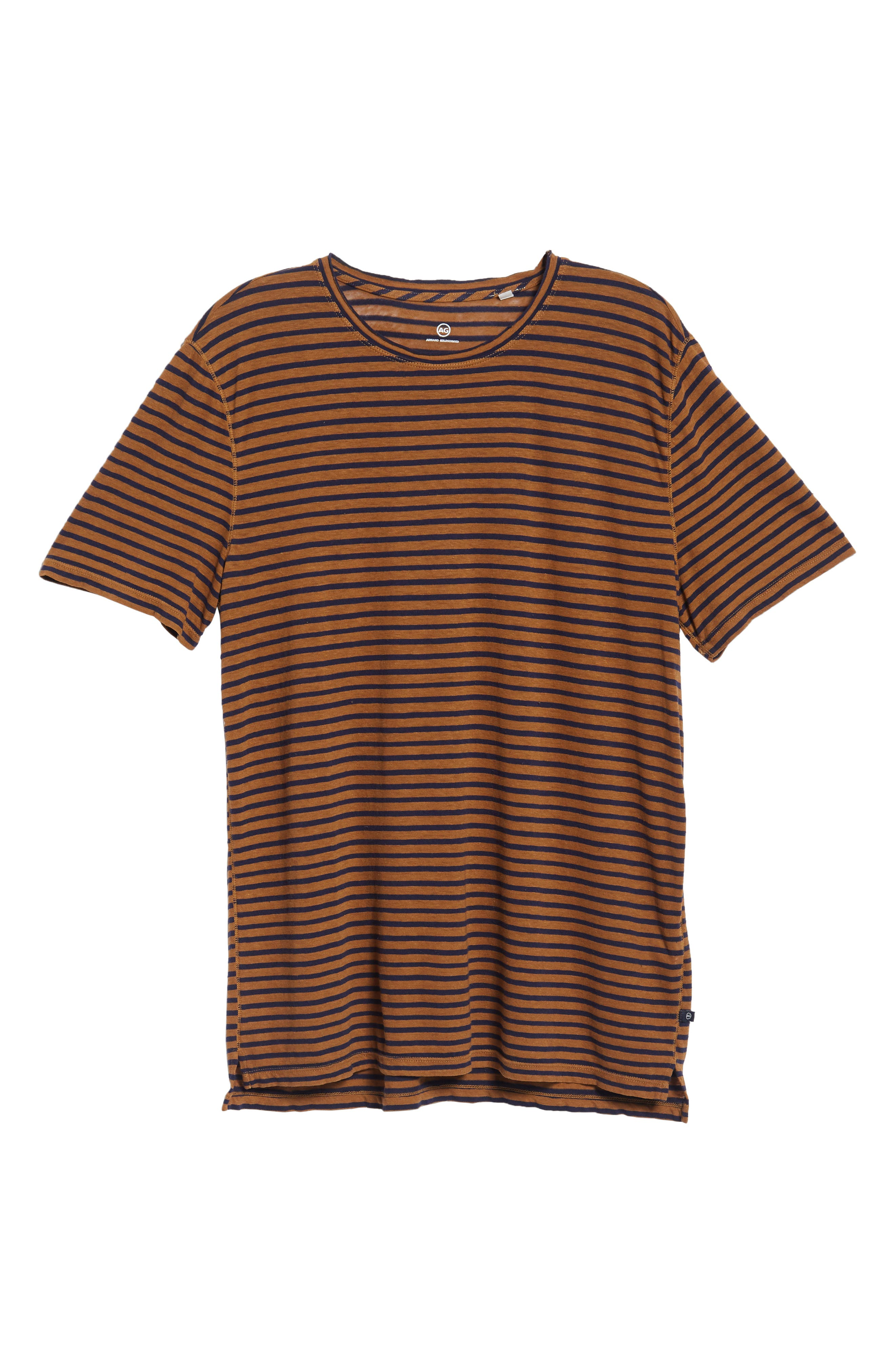 Theo Striped Cotton & Linen T-Shirt,                             Alternate thumbnail 6, color,                             BRONZE CLAY/ NAVY