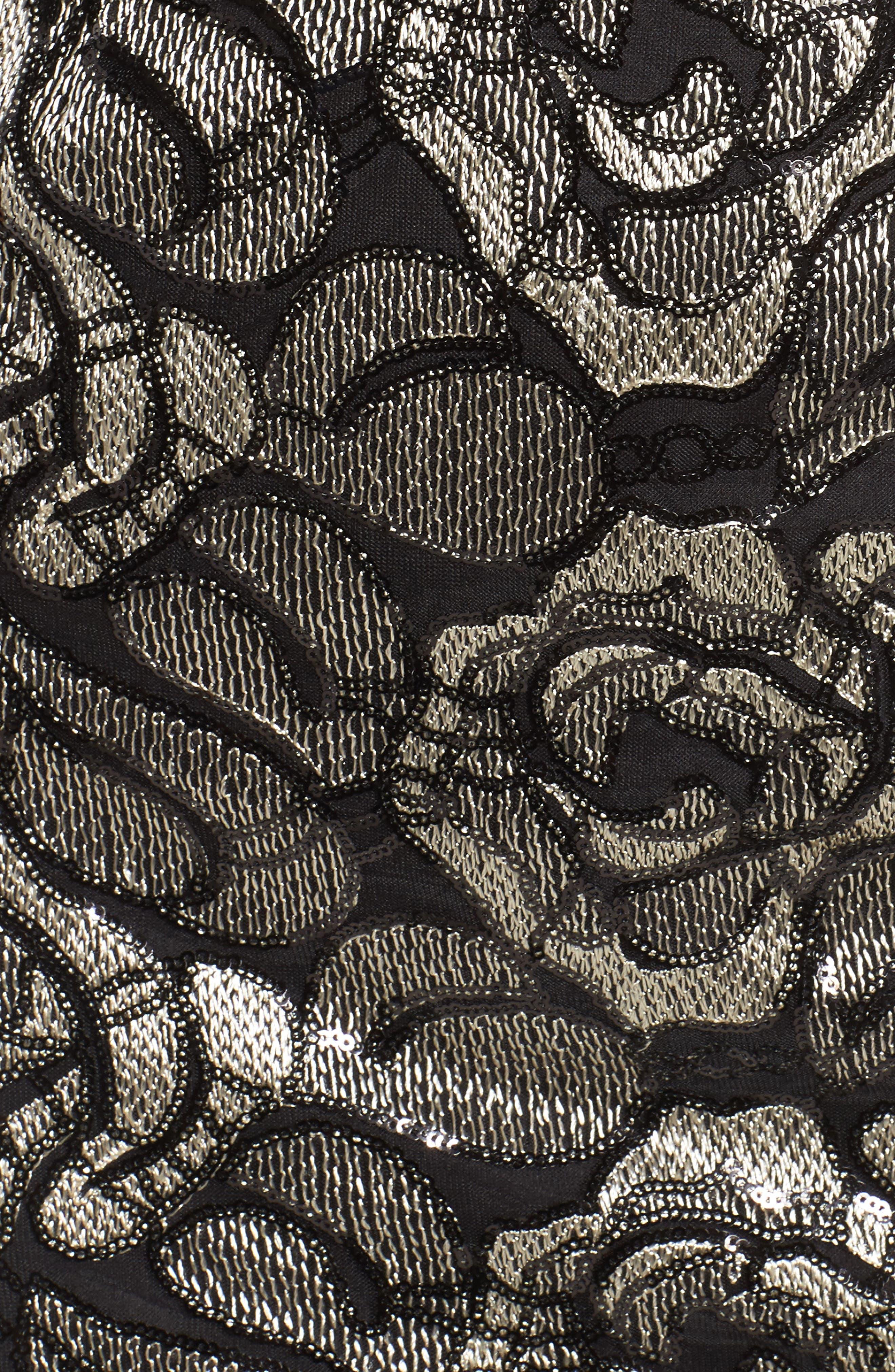 Cowl Neck Rose Lace Gown,                             Alternate thumbnail 5, color,                             018