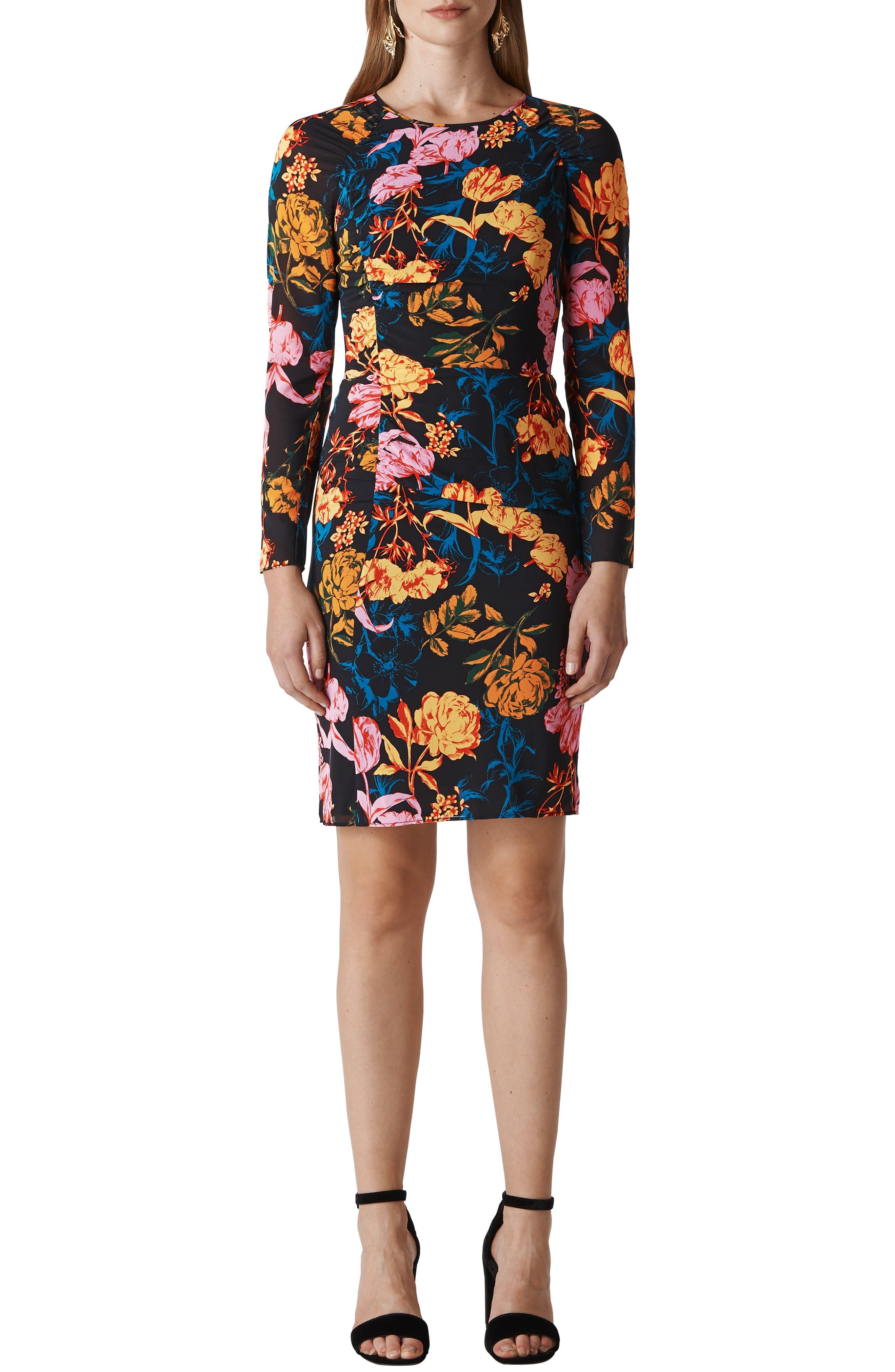 Digital Bloom Print Body-Con Dress,                             Main thumbnail 1, color,                             MULTICOLOUR