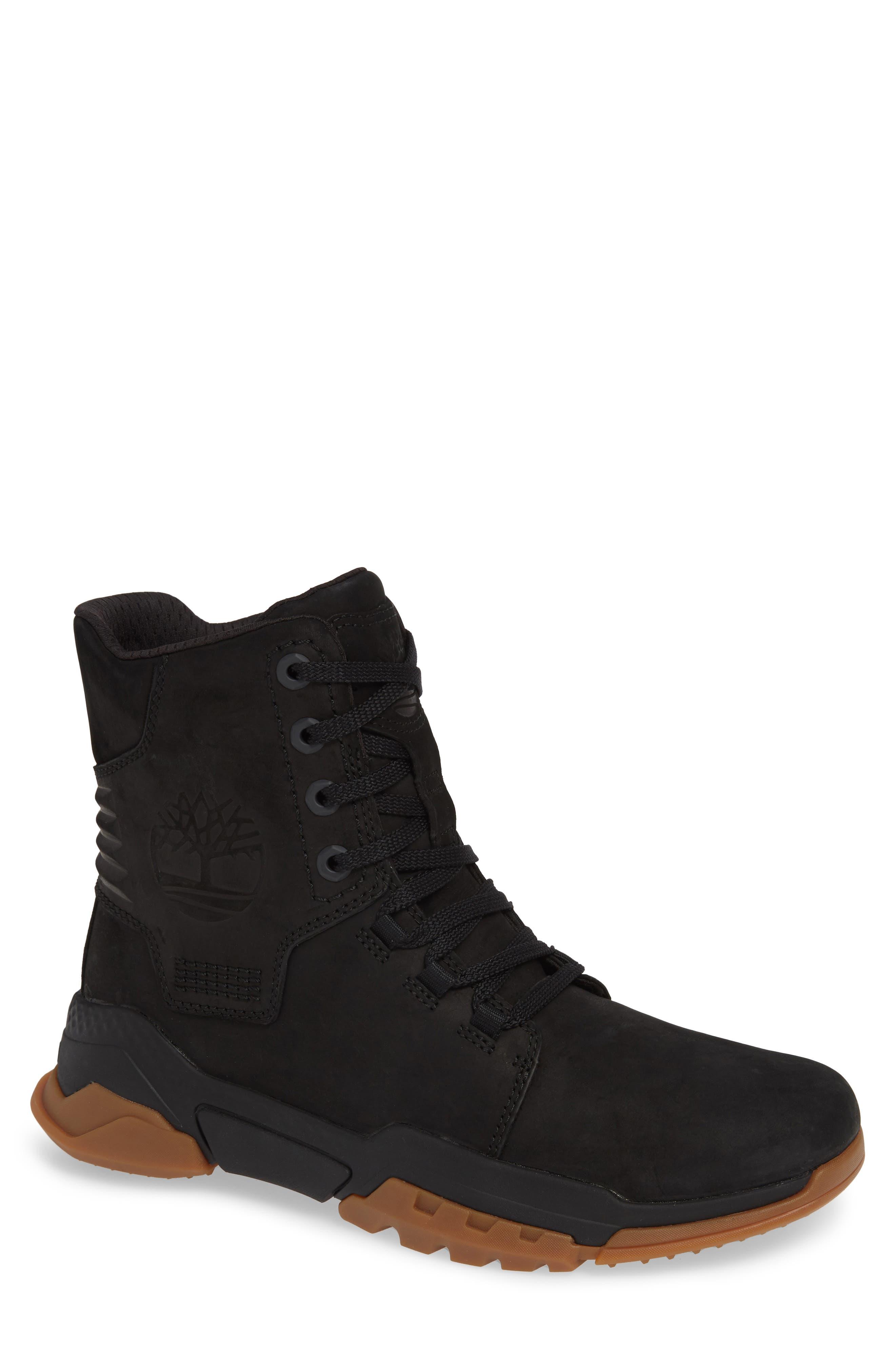 City Force Reveal Plain Toe Boot,                         Main,                         color, BLACK LEATHER/ NEOPRENE