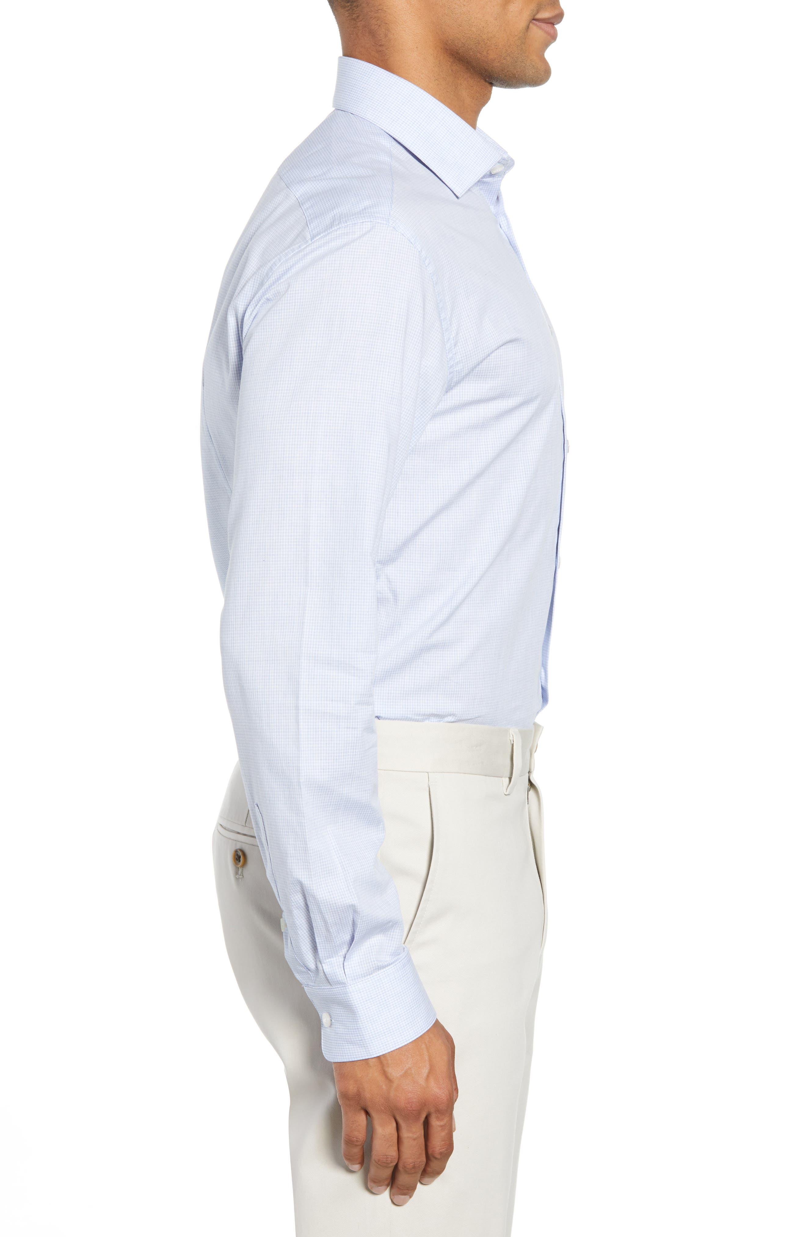Slim Fit Check Dress Shirt,                             Alternate thumbnail 4, color,                             LIGHT BLUE
