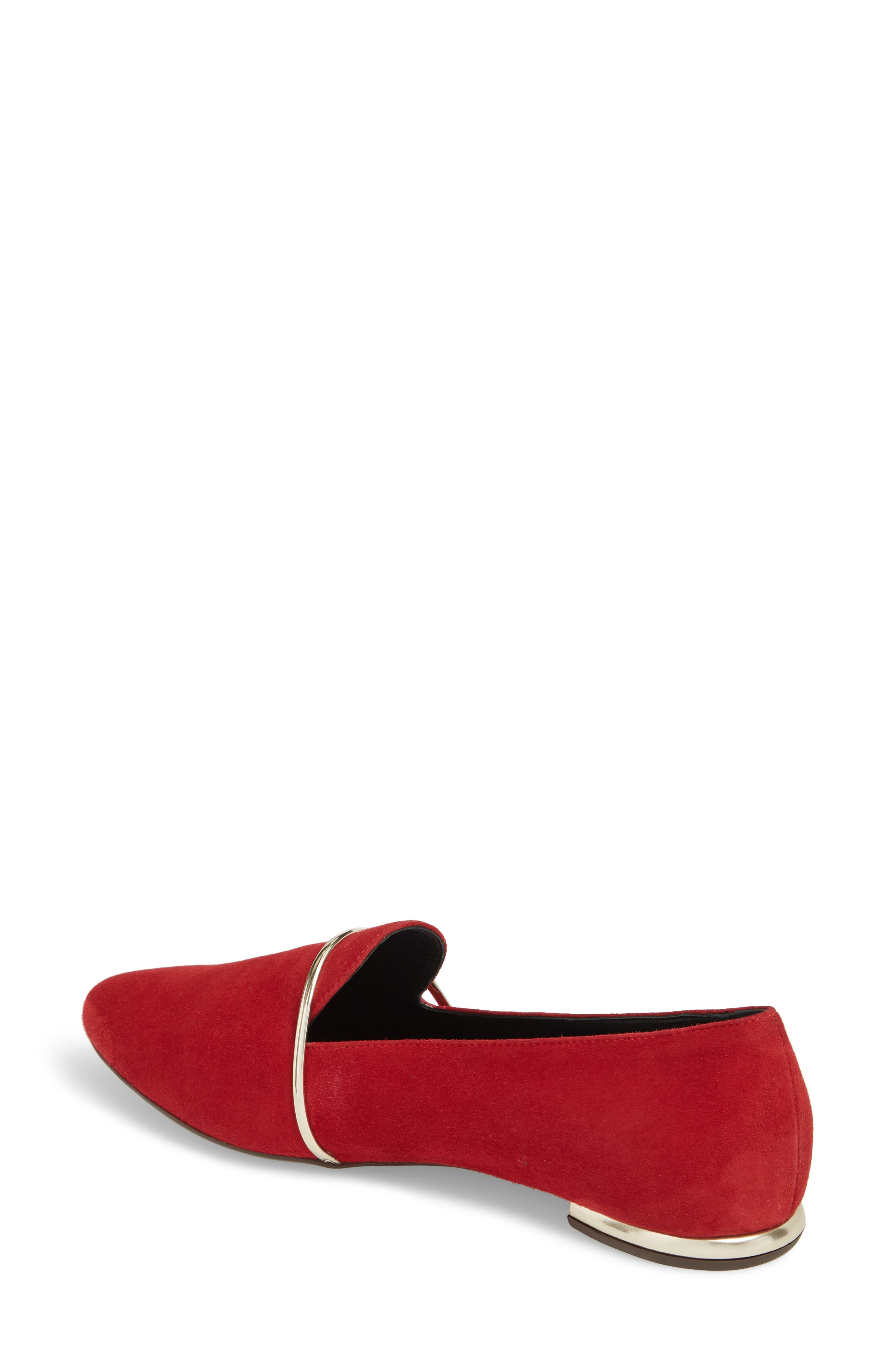 Smoking Slipper,                             Alternate thumbnail 2, color,                             RED SUEDE