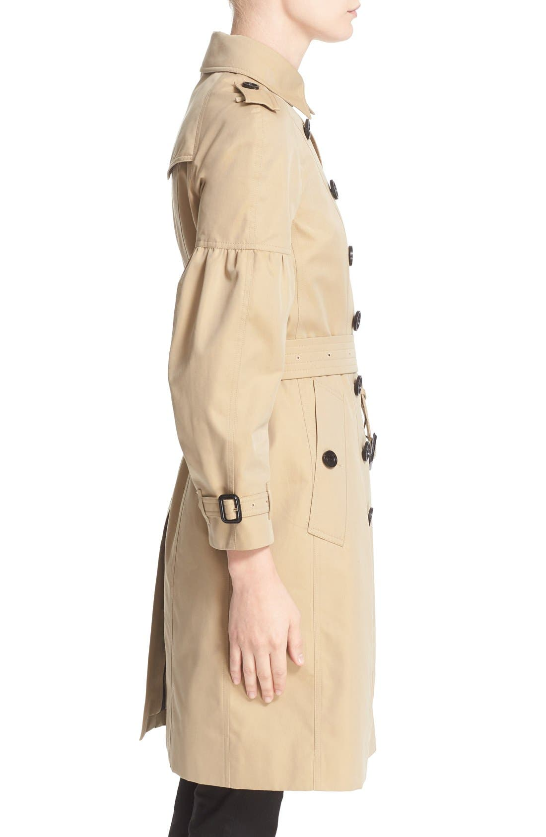 BURBERRY,                             Redhill Puff Sleeve Cotton Trench,                             Alternate thumbnail 2, color,                             250
