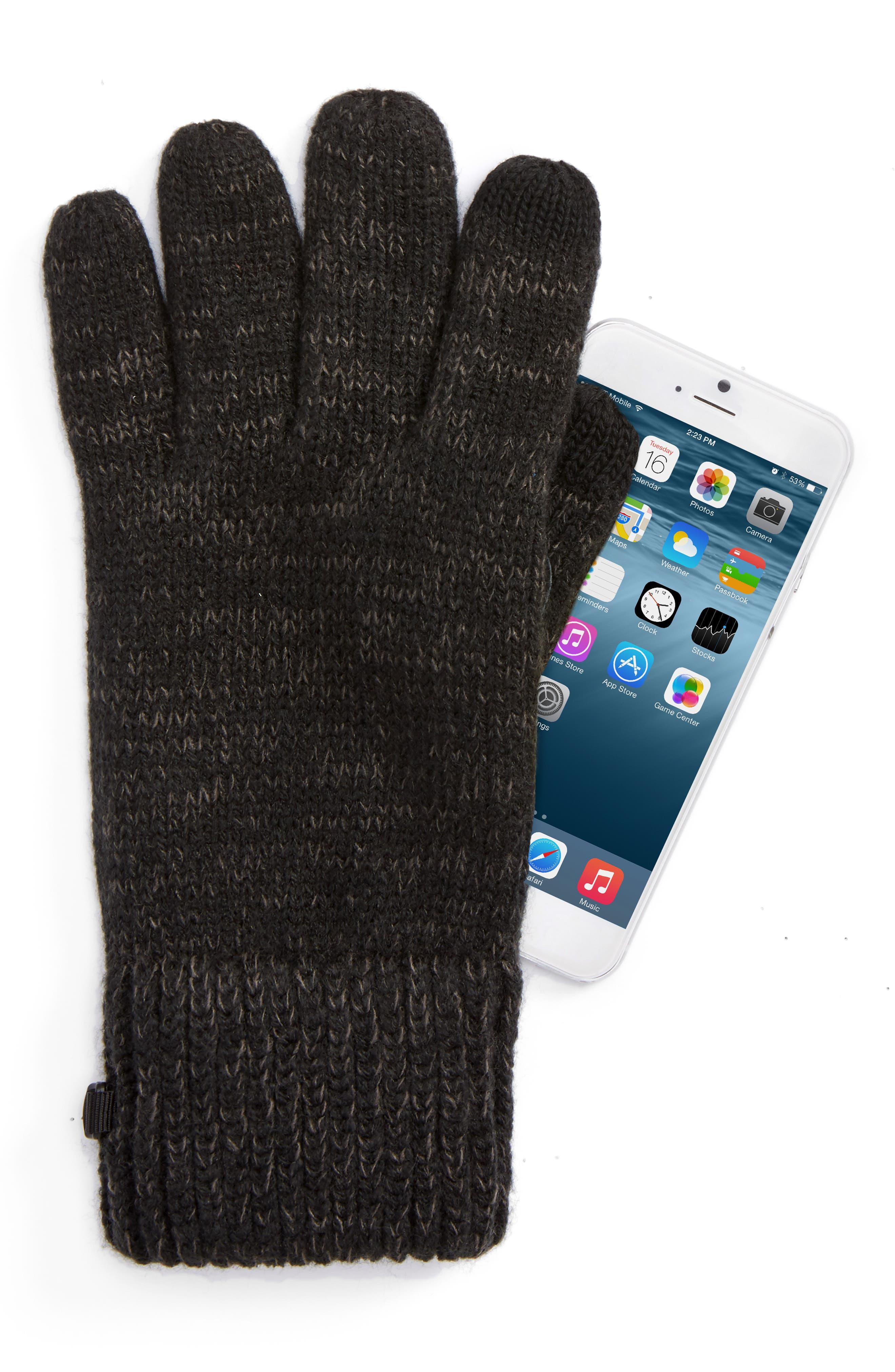 Etip Salty Dog Knit Tech Gloves,                             Alternate thumbnail 2, color,                             TNF BLACK