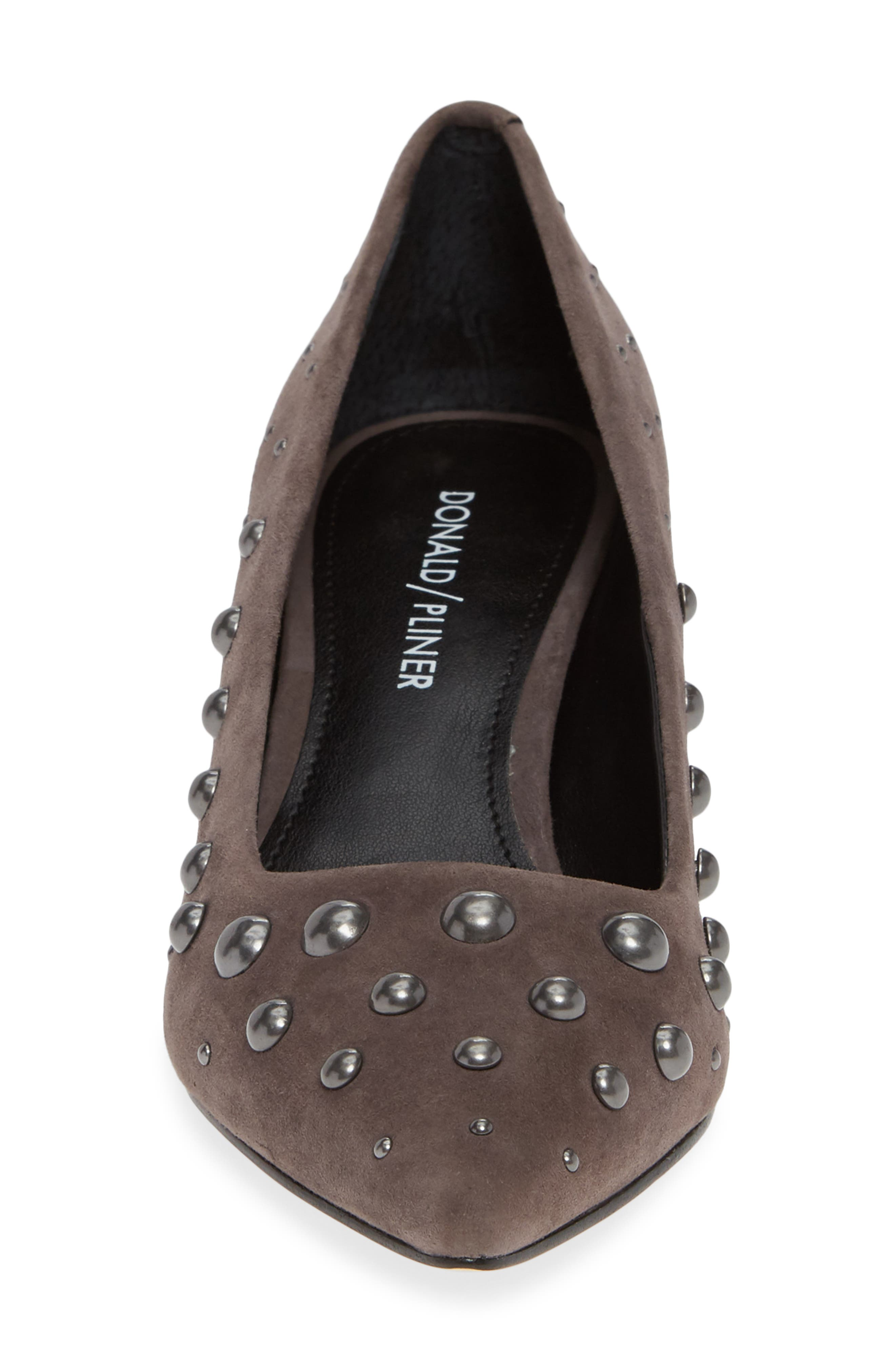 Bazie Studded Pump,                             Alternate thumbnail 4, color,                             GREY SUEDE