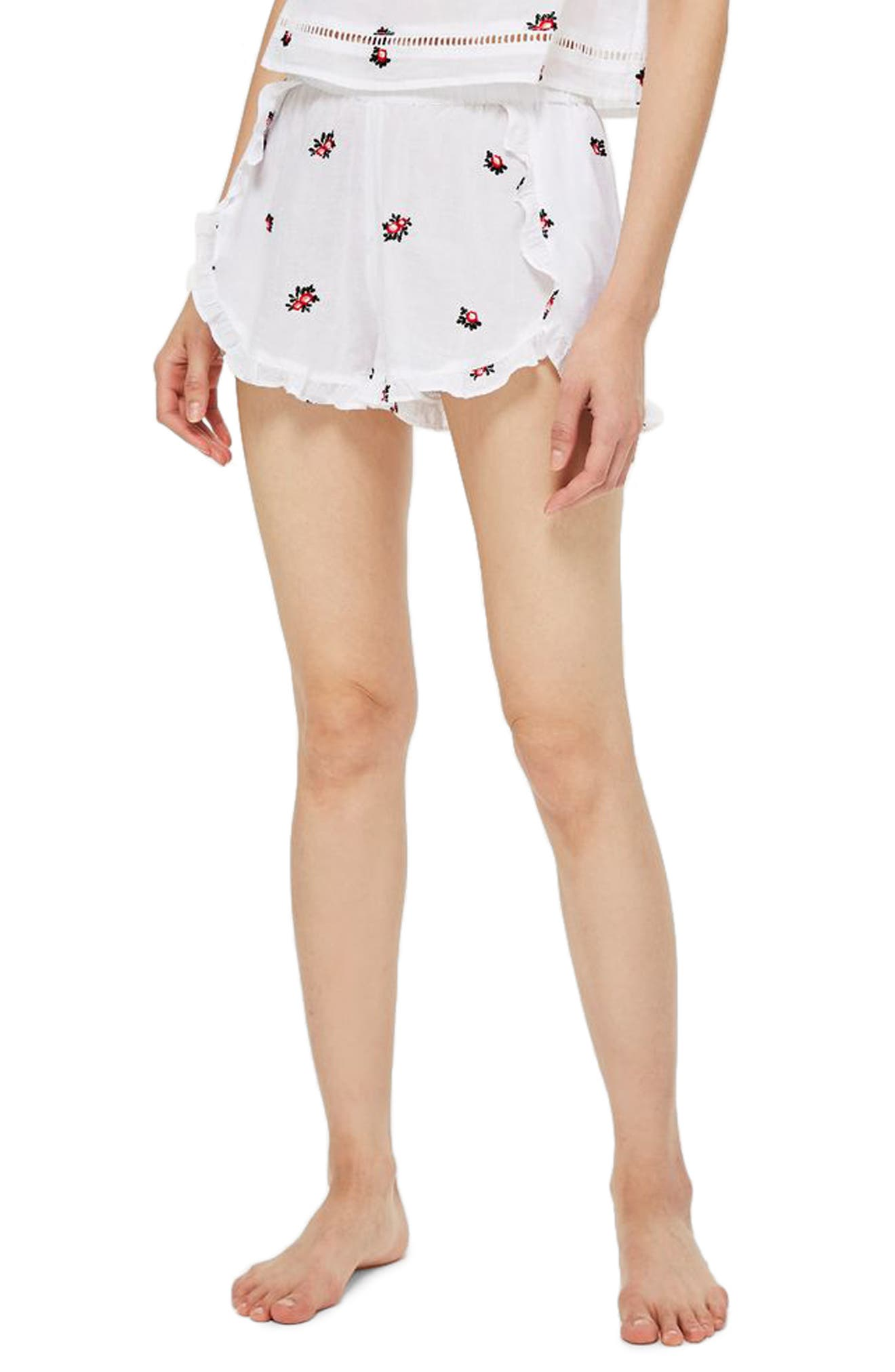Ruffle Pajama Shorts,                             Main thumbnail 1, color,                             WHITE MULTI