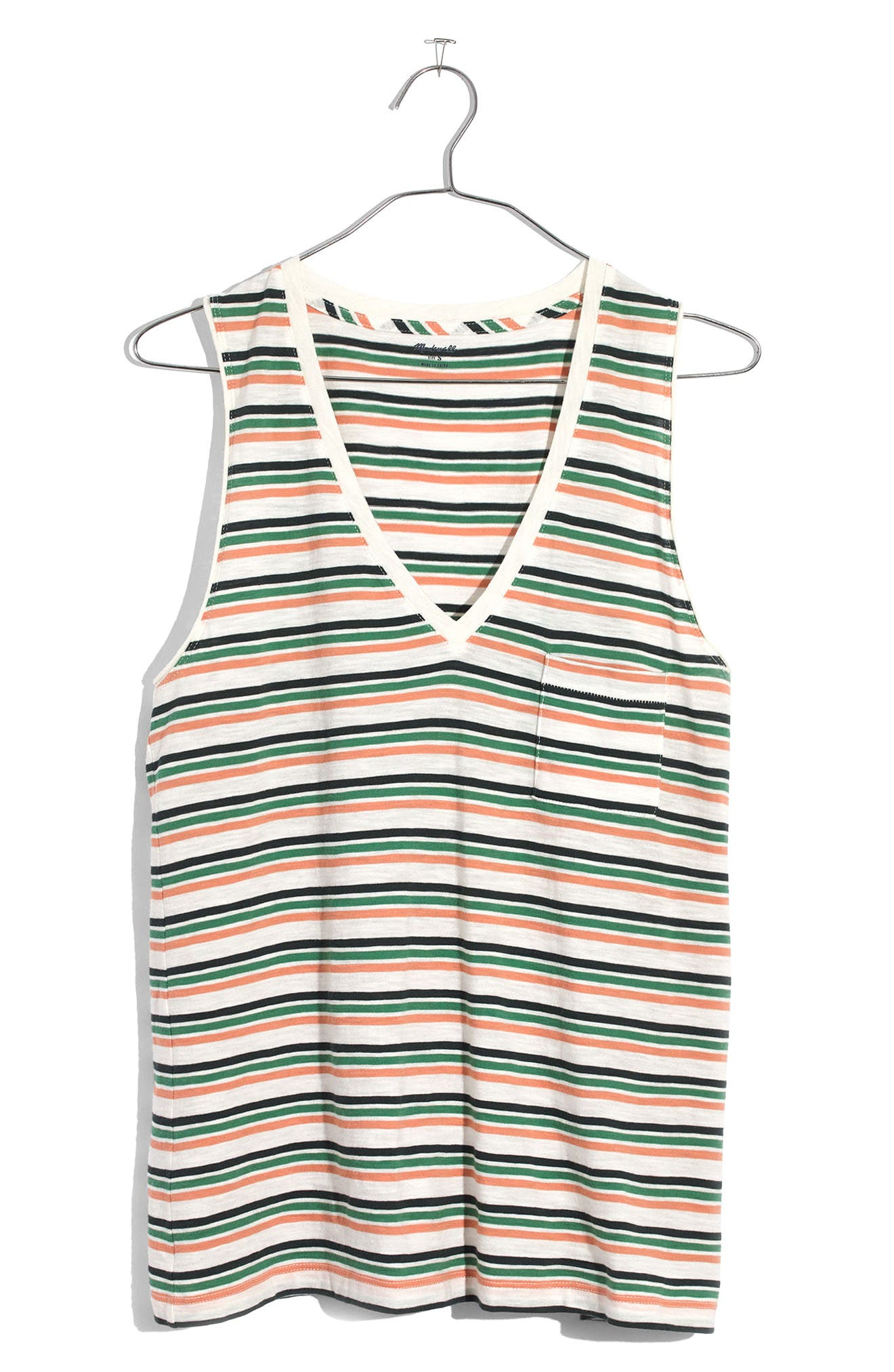Whisper Cotton Stripe V-Neck Pocket Tank,                             Alternate thumbnail 3, color,                             100