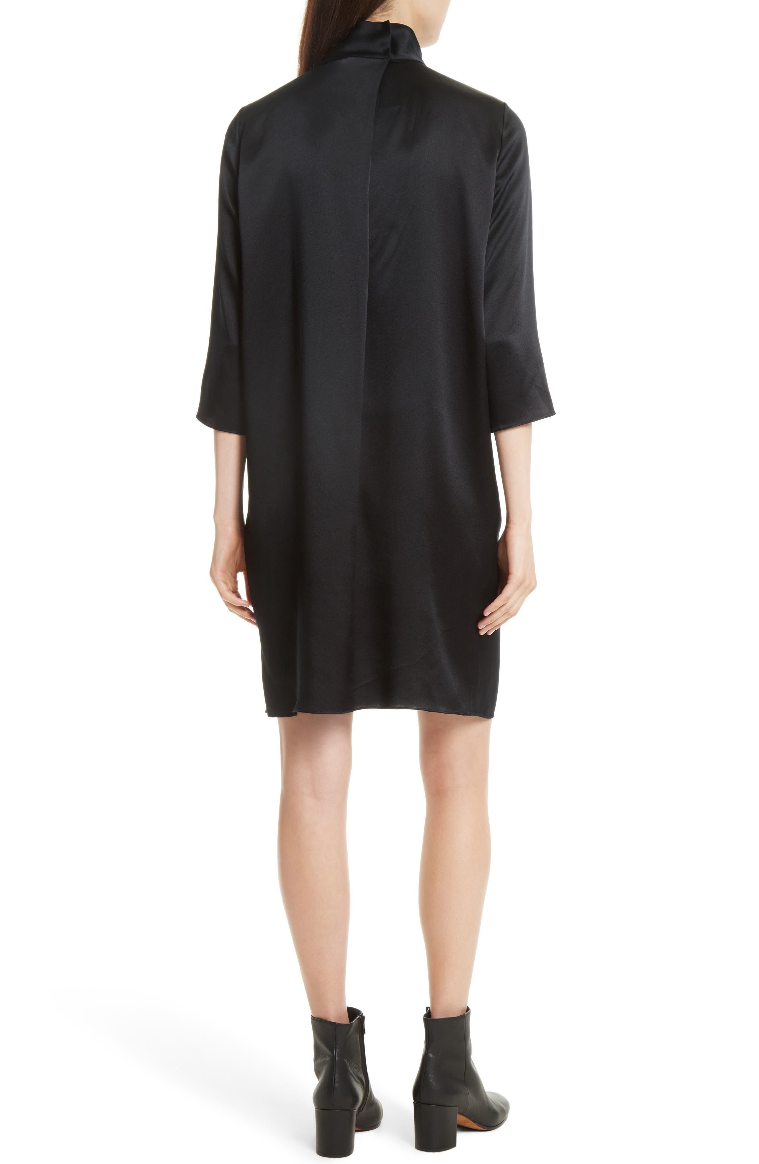 Mock Neck Silk Shift Dress,                             Alternate thumbnail 2, color,                             001