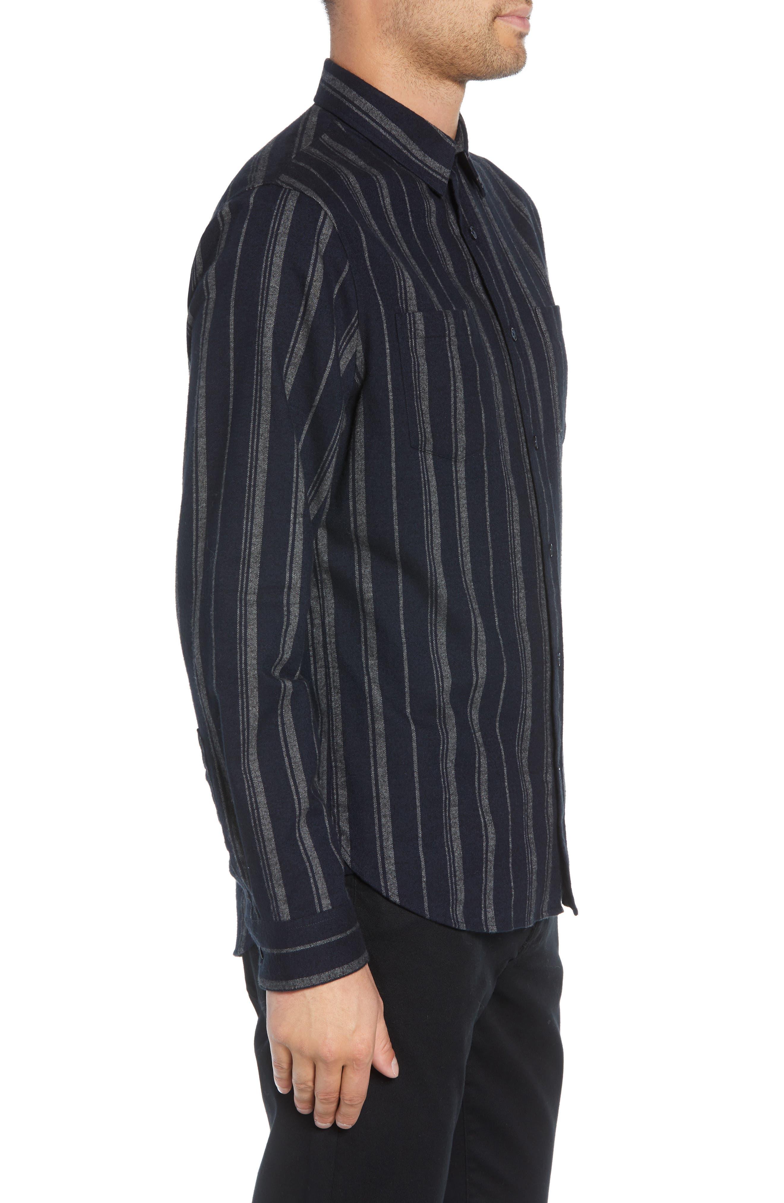 Stripe Flannel Shirt,                             Alternate thumbnail 4, color,                             COASTAL