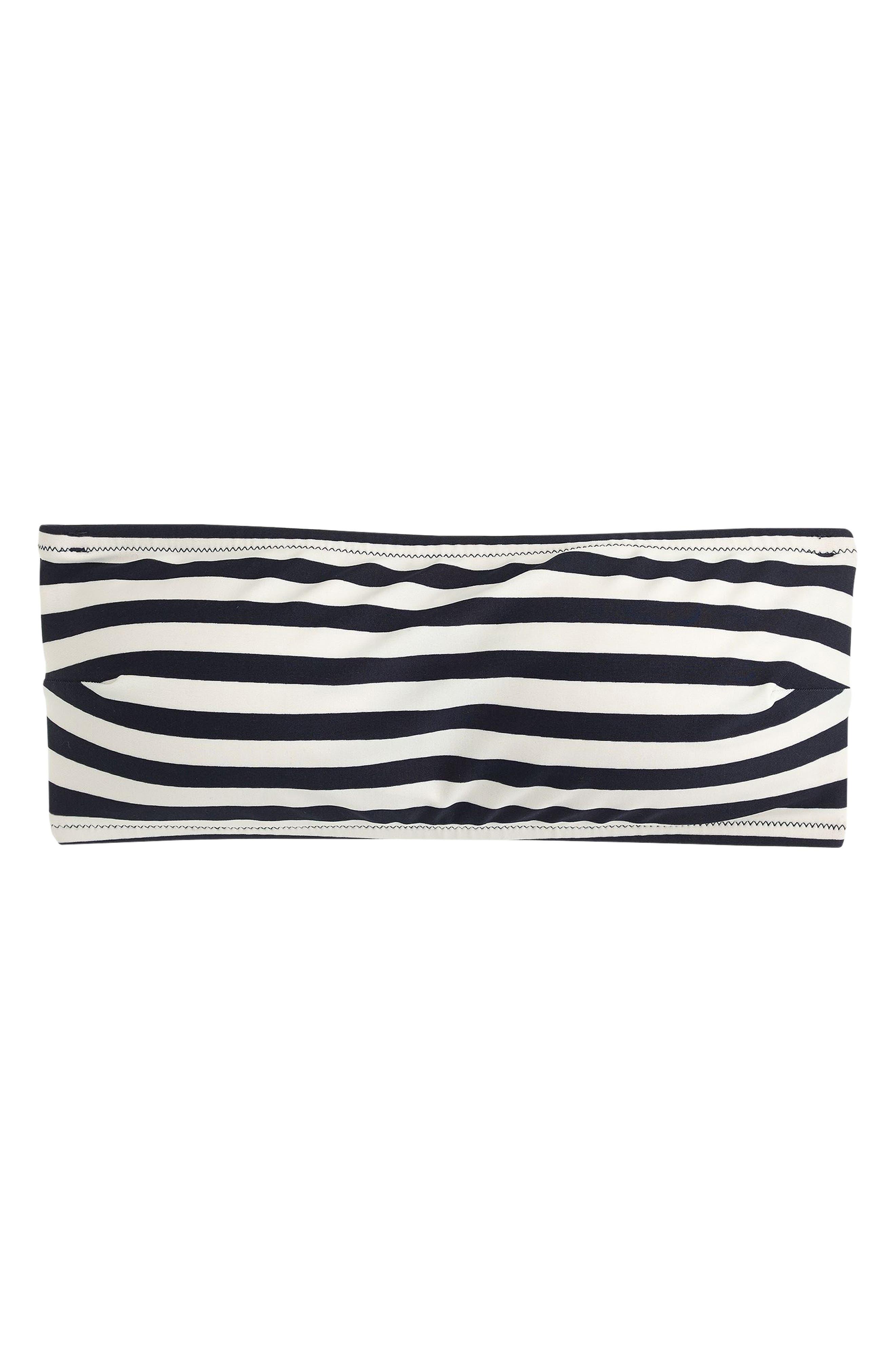 Stripe Tie Back Bandeau Bikini Top,                             Alternate thumbnail 3, color,                             NAVY IVORY
