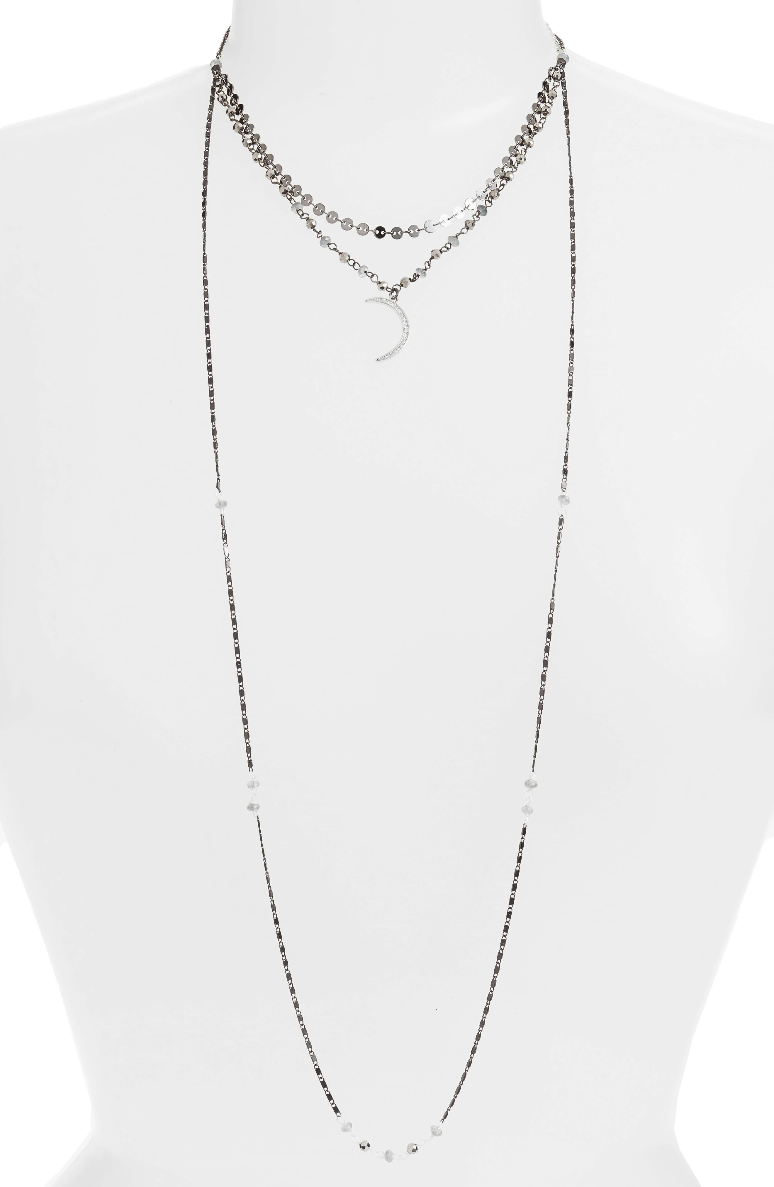 Moon Charm Layered Necklace,                             Main thumbnail 1, color,                             020
