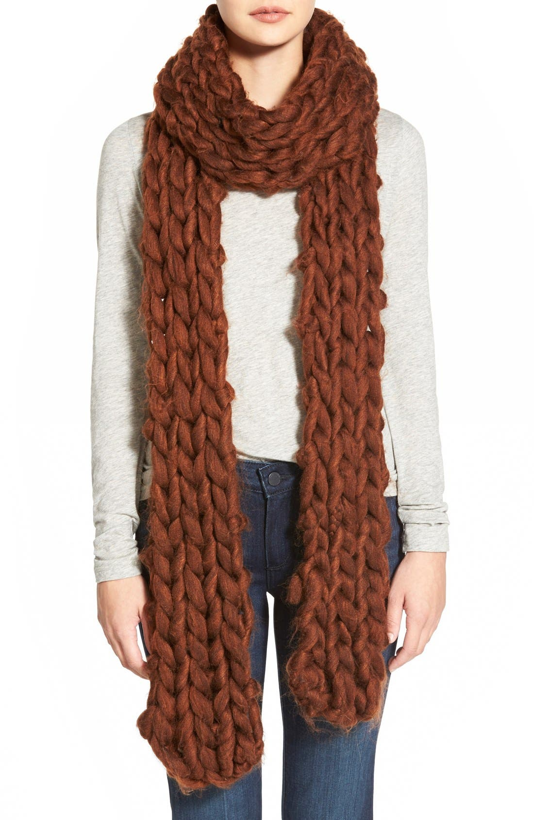 FREE PEOPLE,                             Chunky Knit Scarf,                             Main thumbnail 1, color,                             200