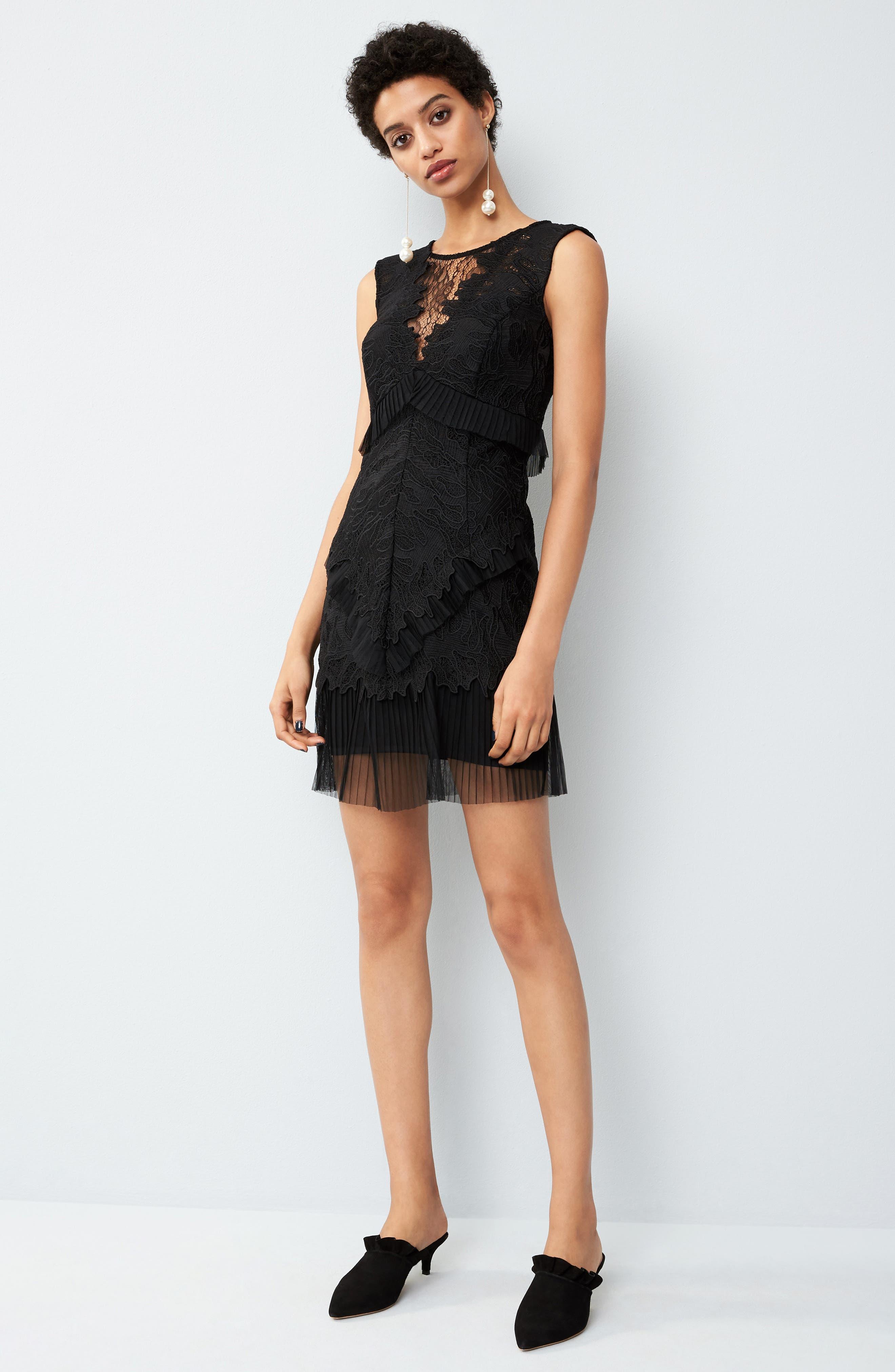 Ruffle Trim Lace Sheath Dress,                             Alternate thumbnail 7, color,                             001