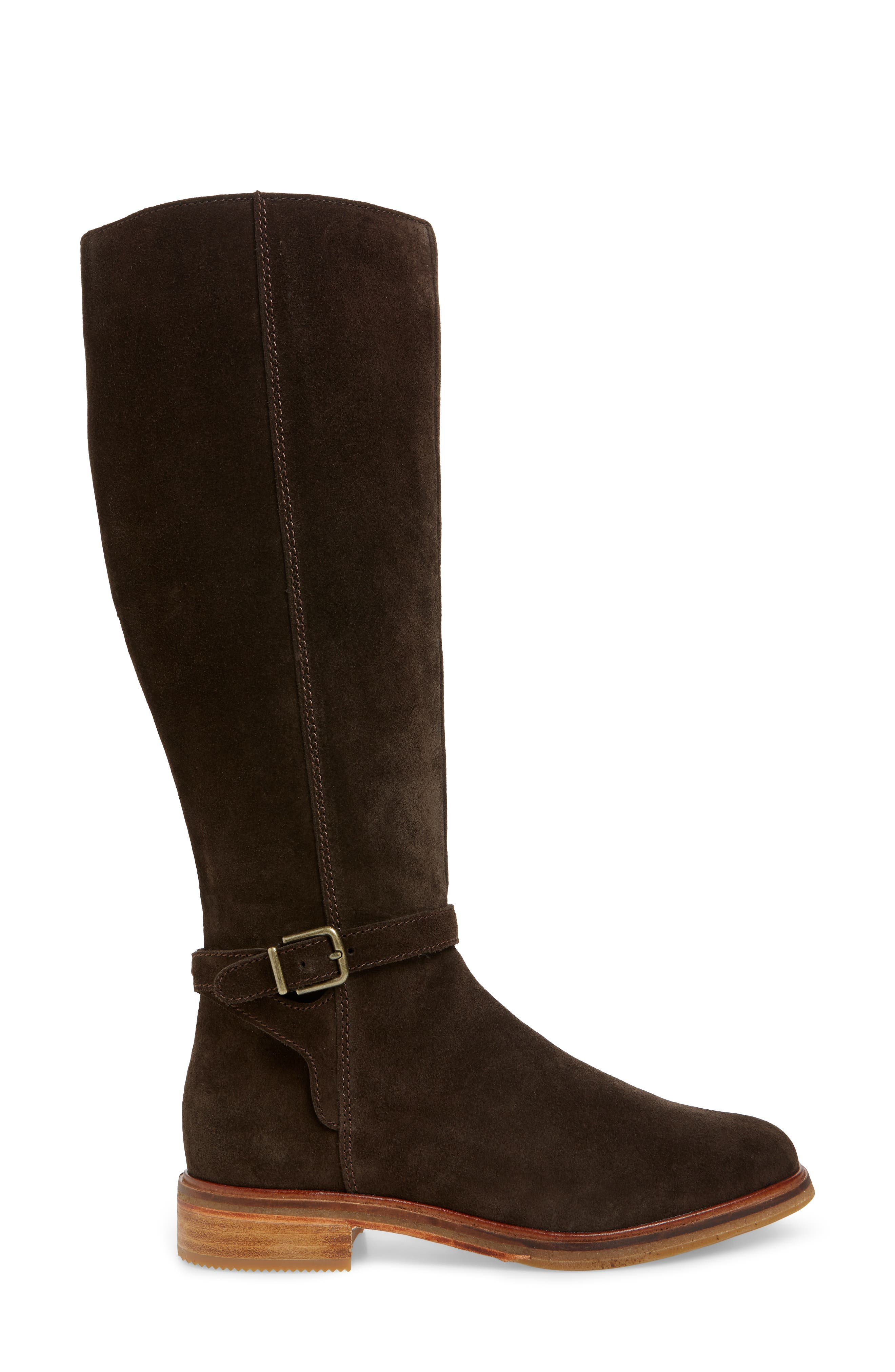 Clarkdale Clad Boot,                             Alternate thumbnail 3, color,                             BROWN SUEDE