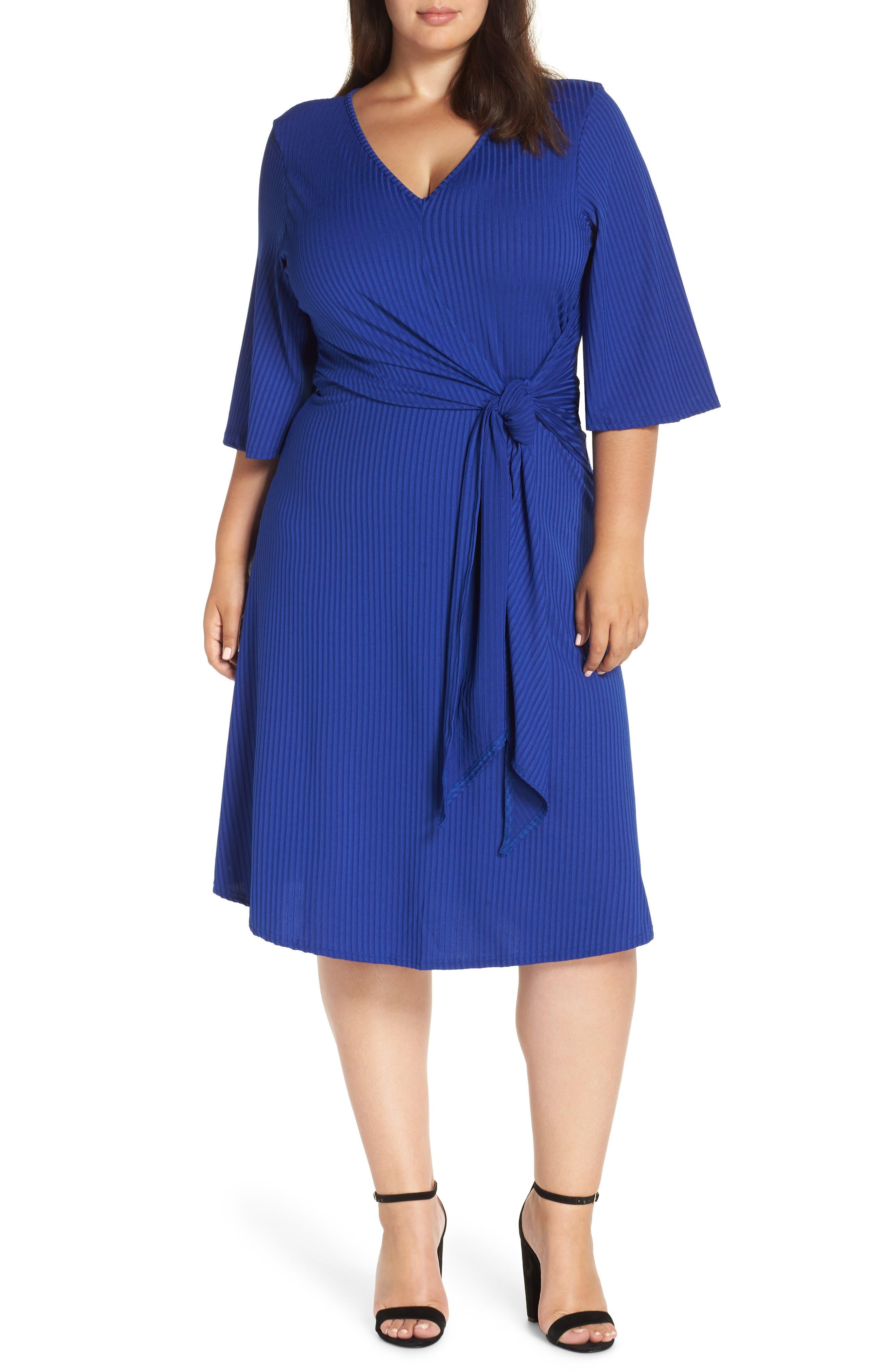 Ribbed Knit Skater Dress,                         Main,                         color, BLUE