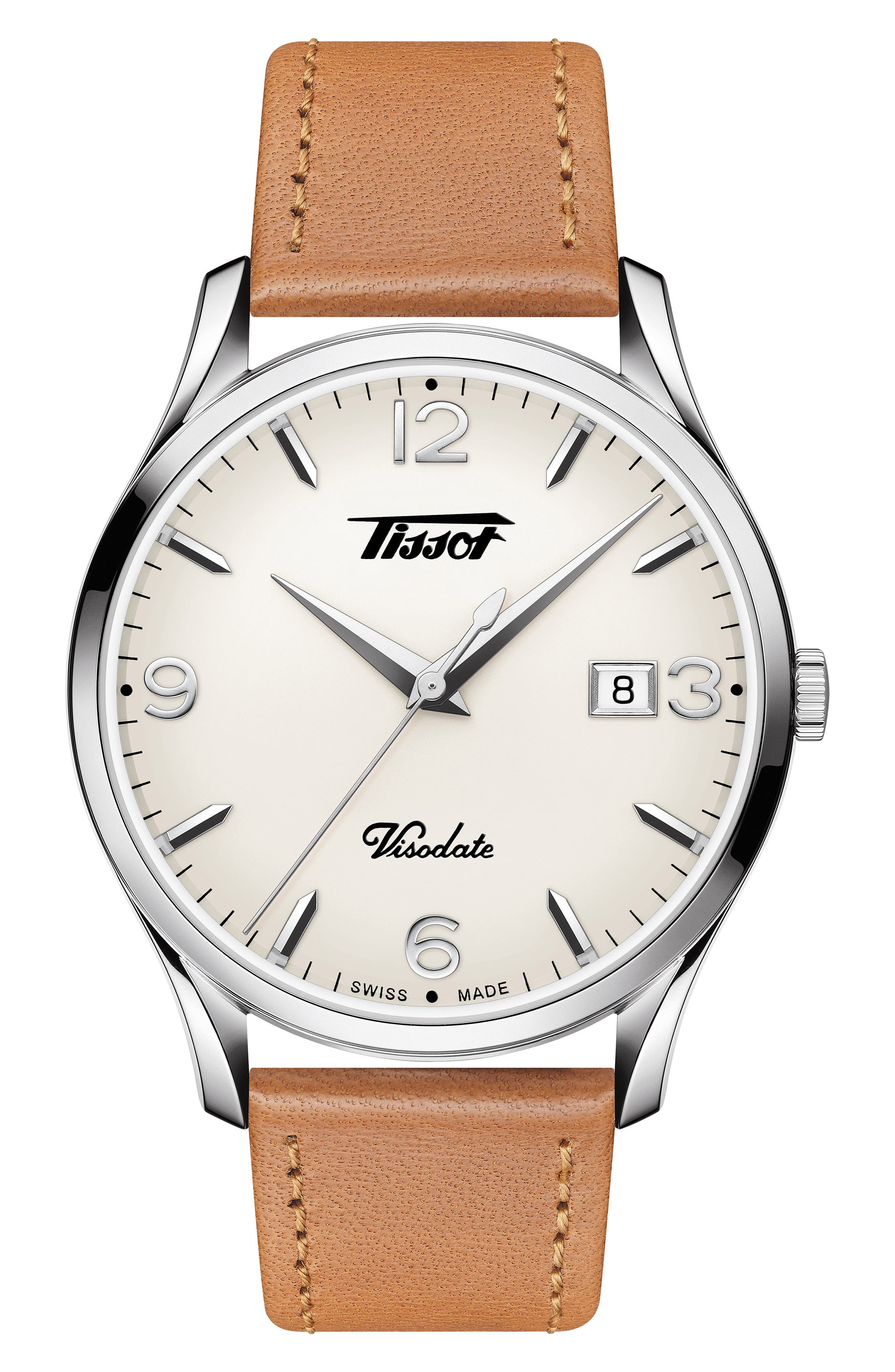 Heritage Visodate Leather Strap Watch, 40mm, Main, color, BROWN/ WHITE/ SILVER