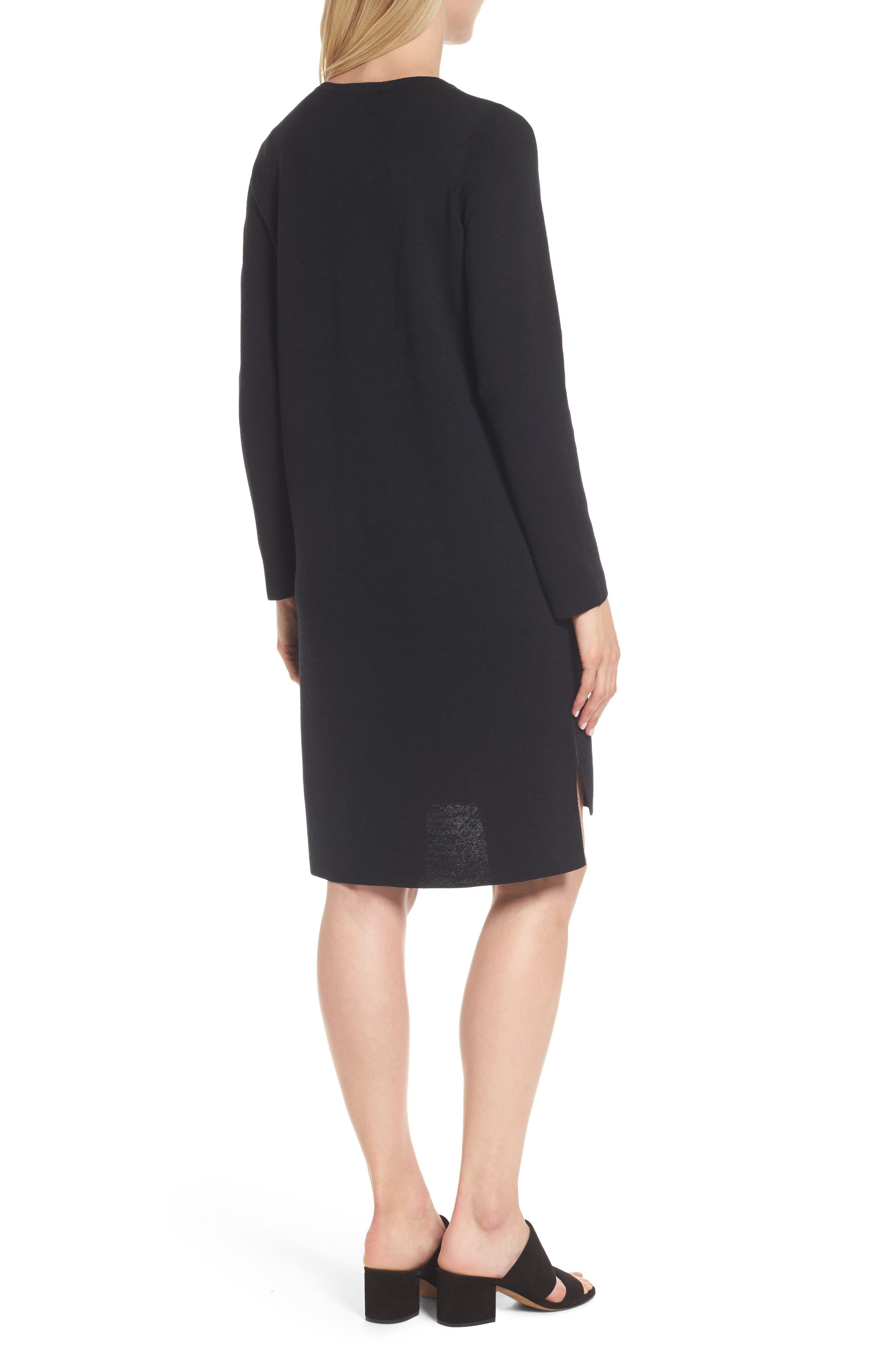 Merino Wool Sweater Dress,                             Alternate thumbnail 2, color,                             001