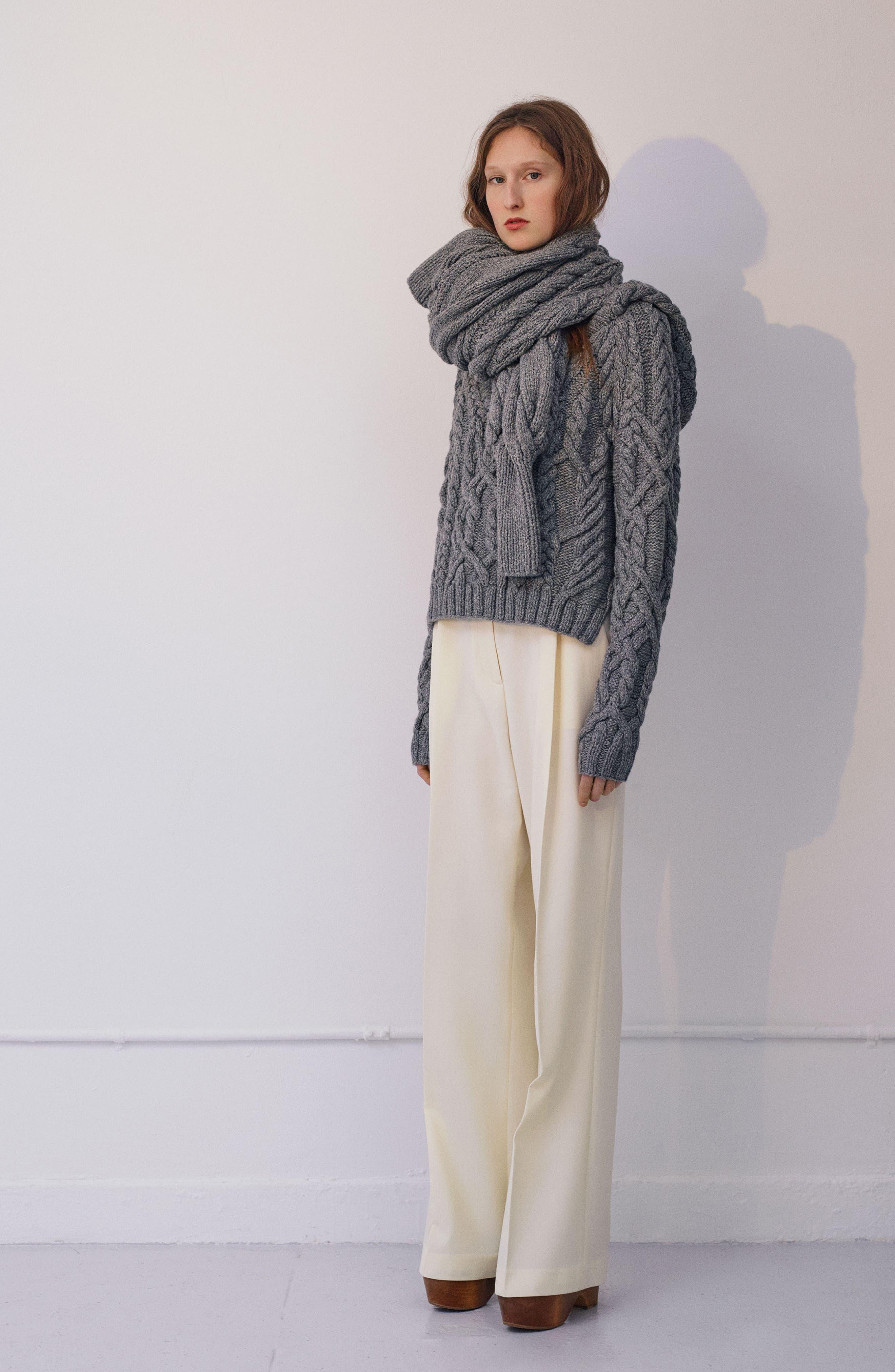 Mélange Cable Knit Hooded Sweater,                             Alternate thumbnail 7, color,                             GREY MELANGE