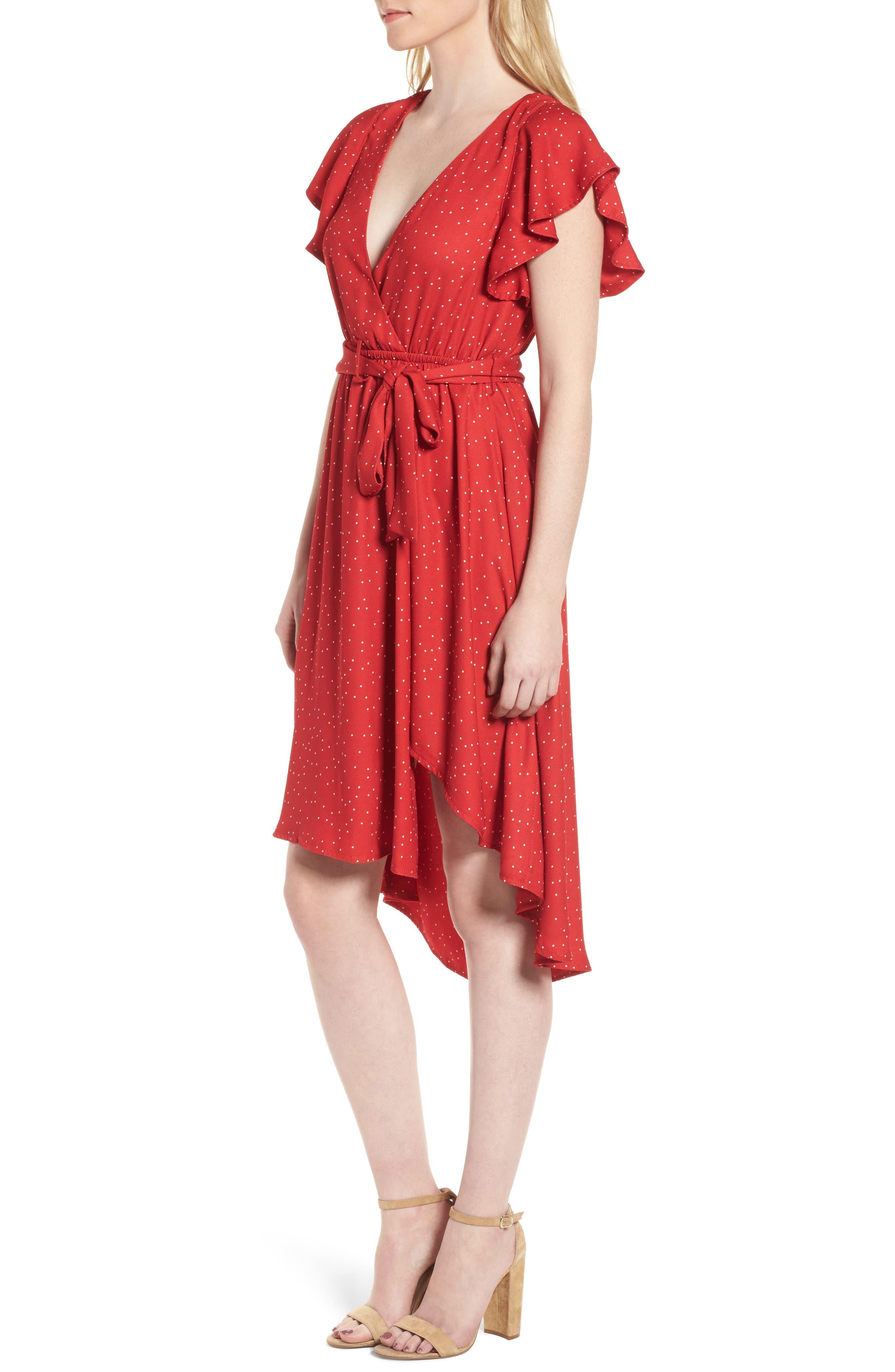 Bassinger Faux Wrap High/Low Dress,                             Alternate thumbnail 3, color,