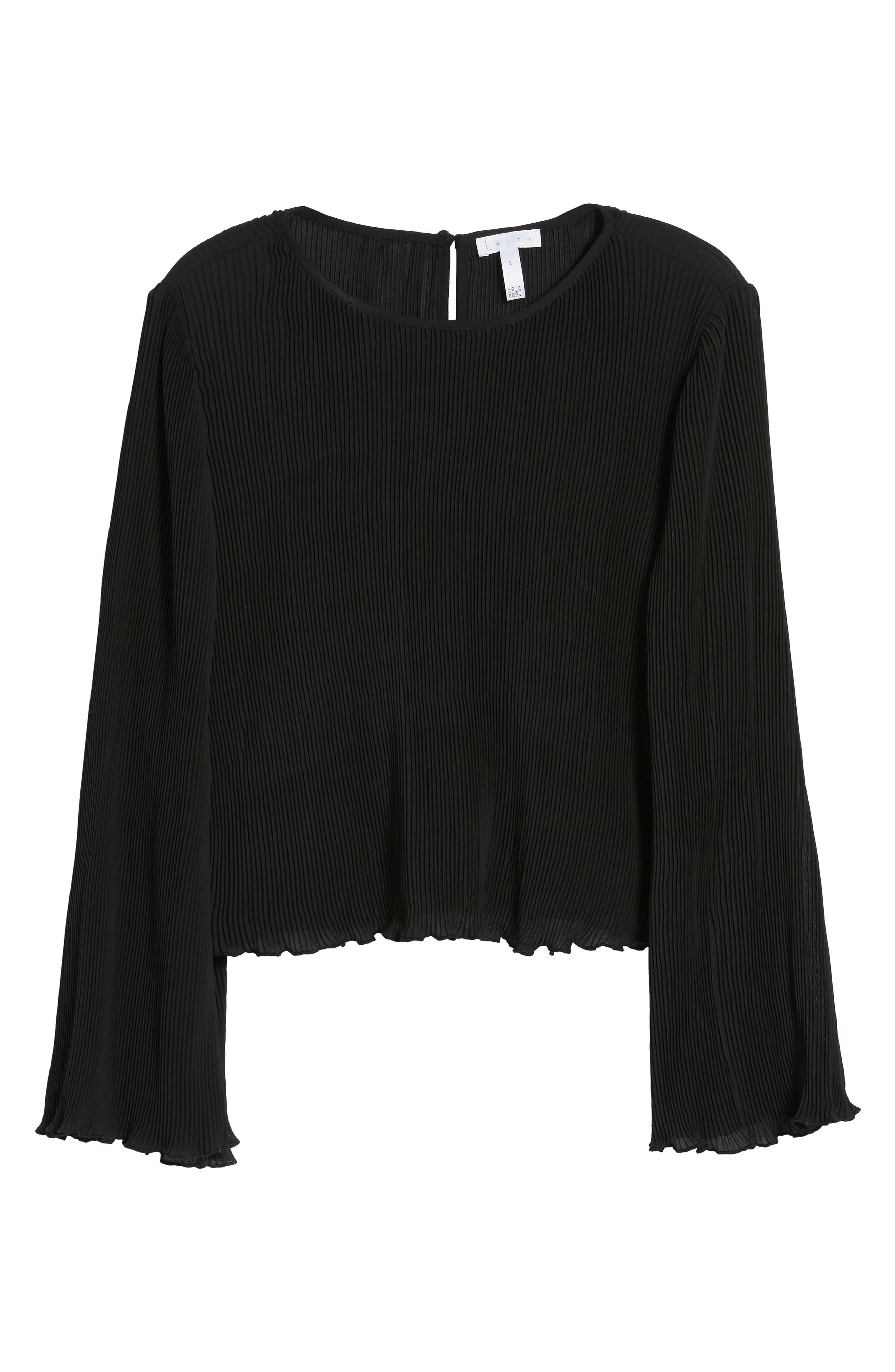 Pleated Bell Sleeve Top,                             Alternate thumbnail 6, color,                             001