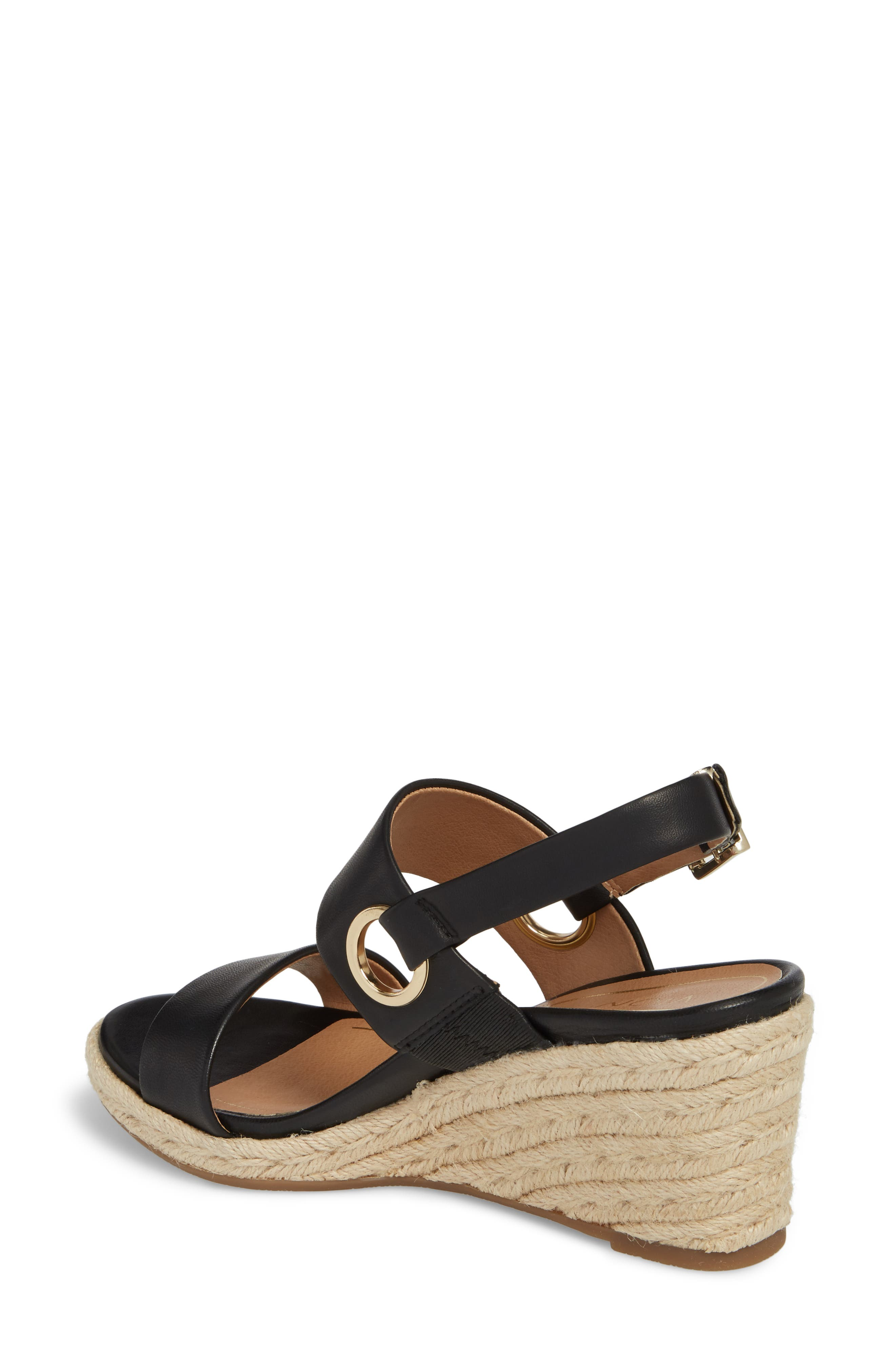 Vero Espadrille Wedge,                             Alternate thumbnail 2, color,                             BLACK LEATHER