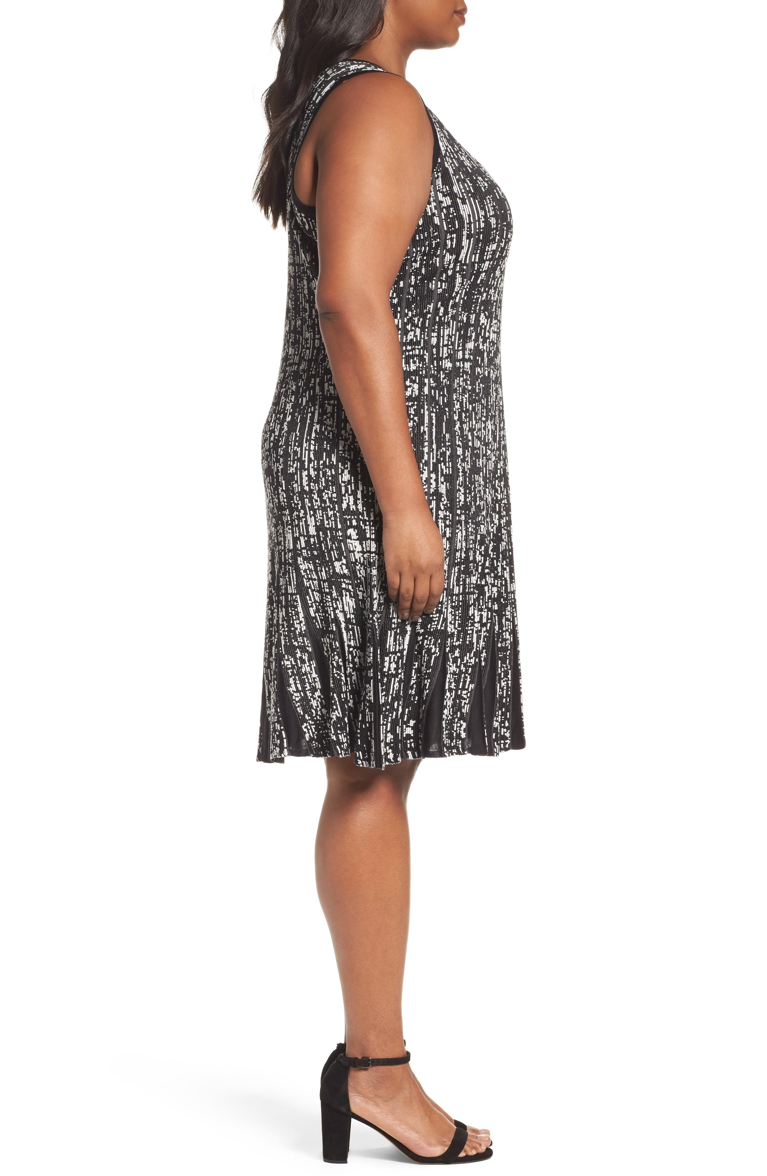 NIC+ZOE,                             Boulevard Twirl Dress,                             Alternate thumbnail 3, color,                             001