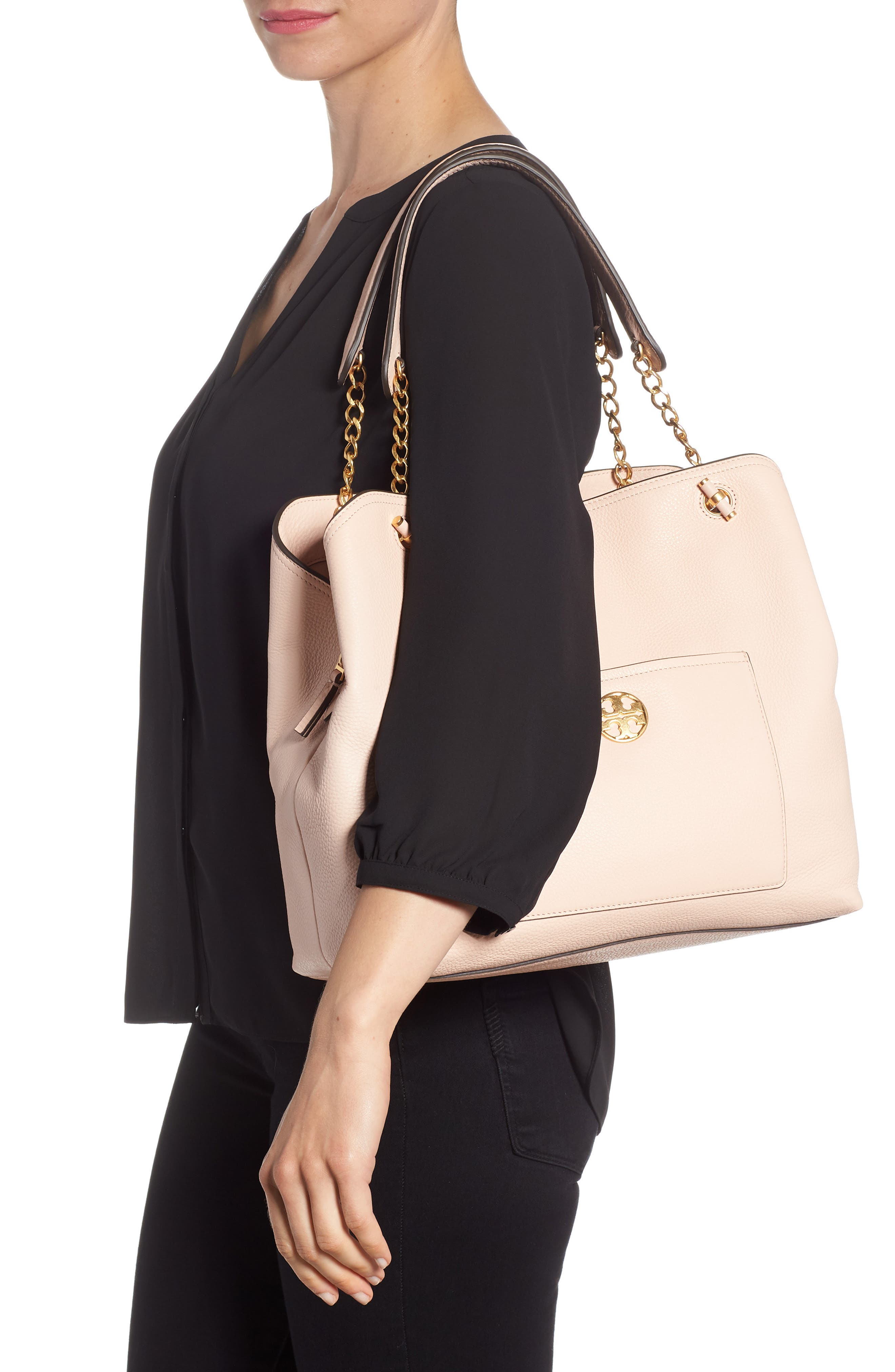Chelsea Slouchy Leather Tote,                             Alternate thumbnail 2, color,                             PALE APRICOT
