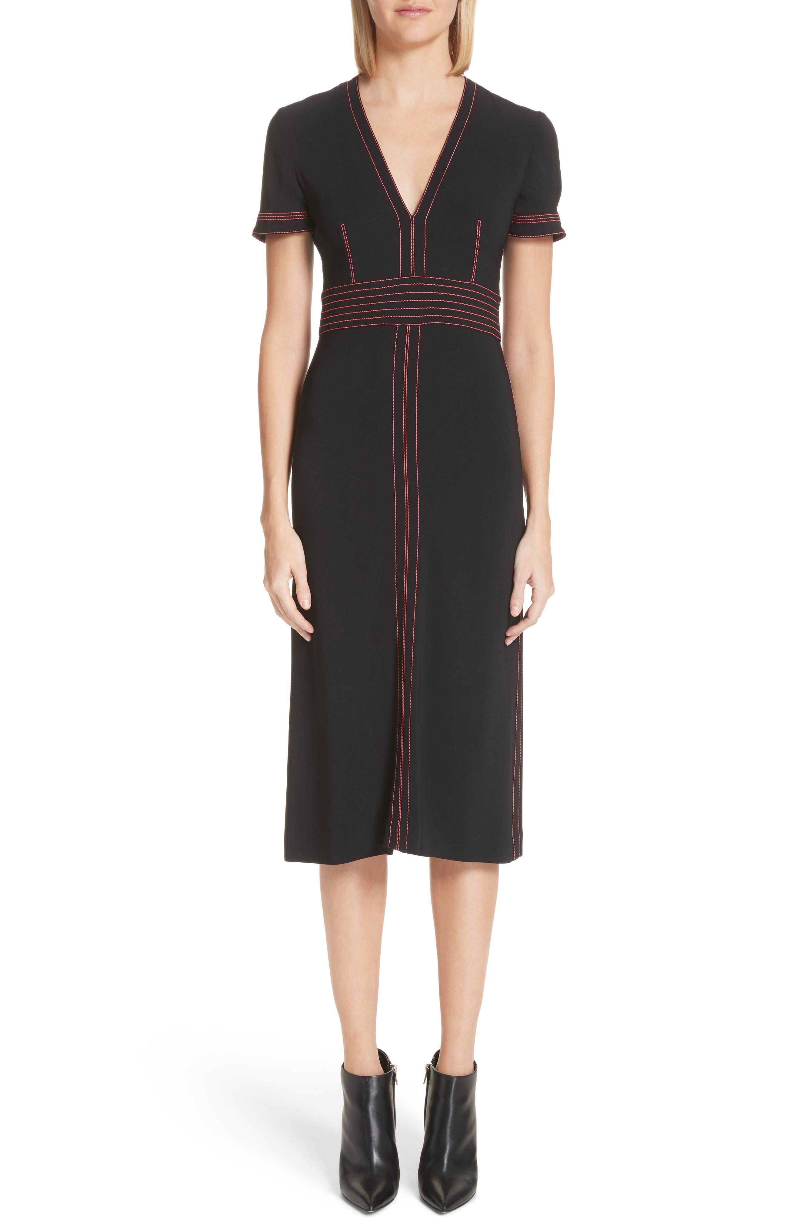 Benni Topstitched Midi Dress,                             Main thumbnail 1, color,                             001