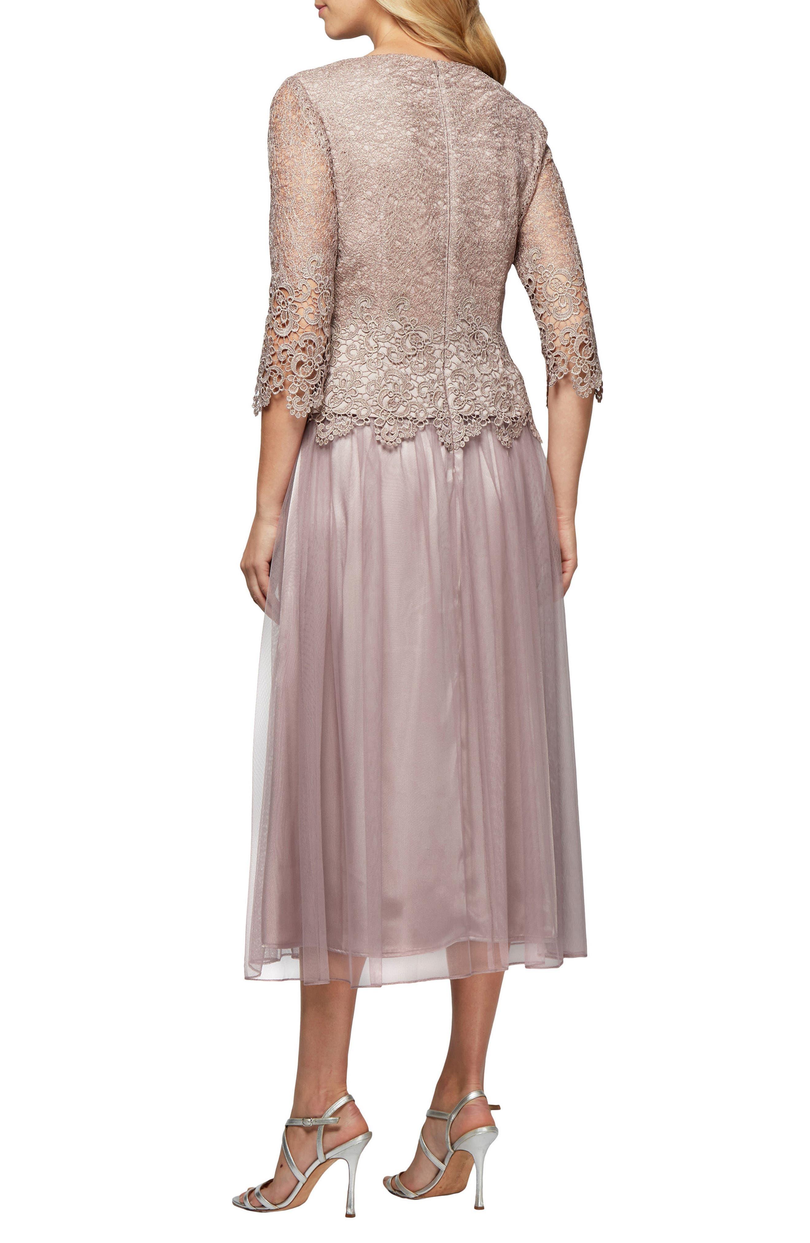 Mock Two-Piece Tea Length Dress,                             Alternate thumbnail 2, color,                             695