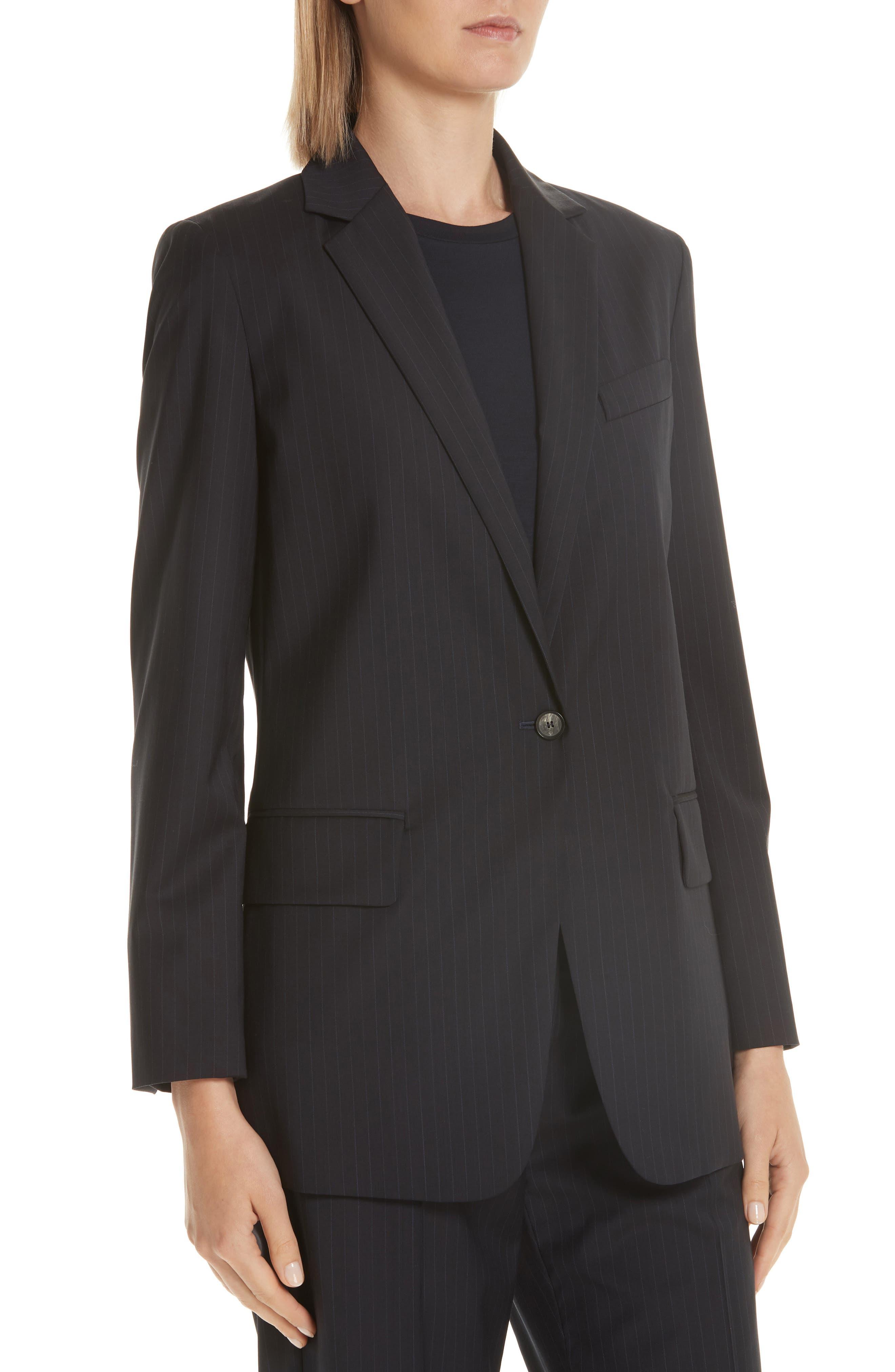 MAX MARA,                             Laser Single Button Wool Jacket,                             Alternate thumbnail 4, color,                             ULTRAMARINE