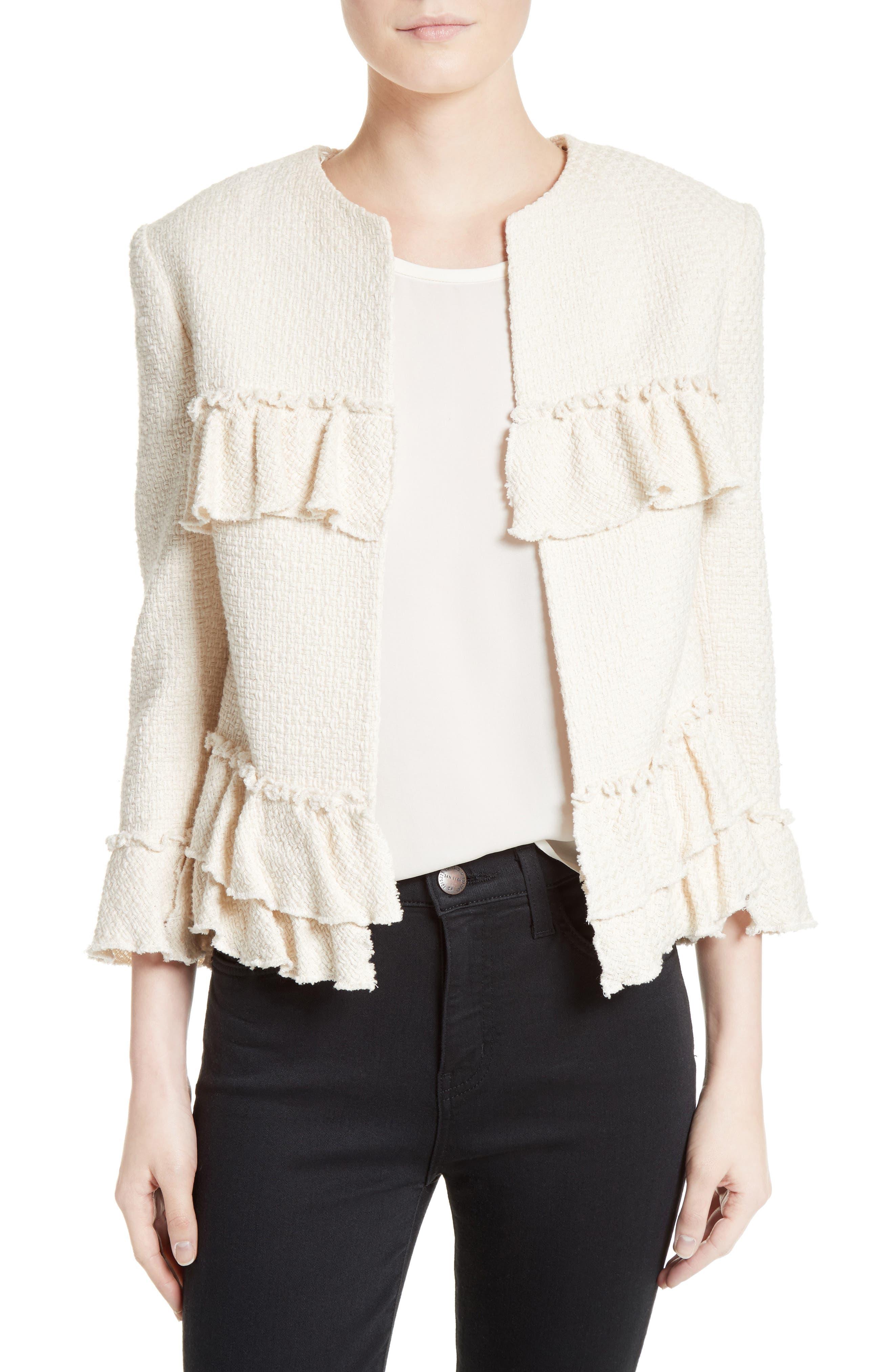 Frill Tweed Jacket,                             Main thumbnail 1, color,                             901