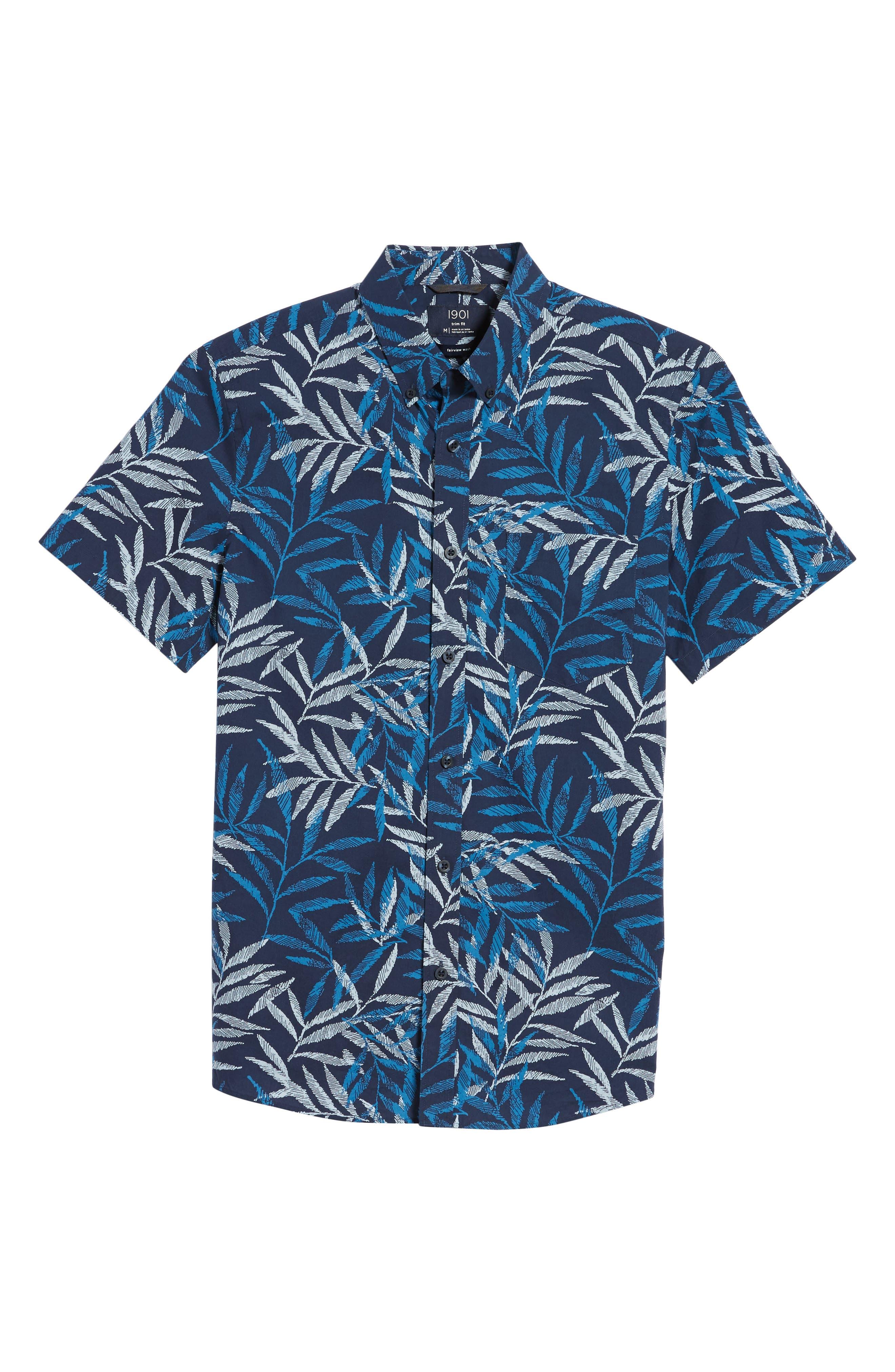 Trim Fit Print Short Sleeve Sport Shirt,                             Alternate thumbnail 6, color,                             420
