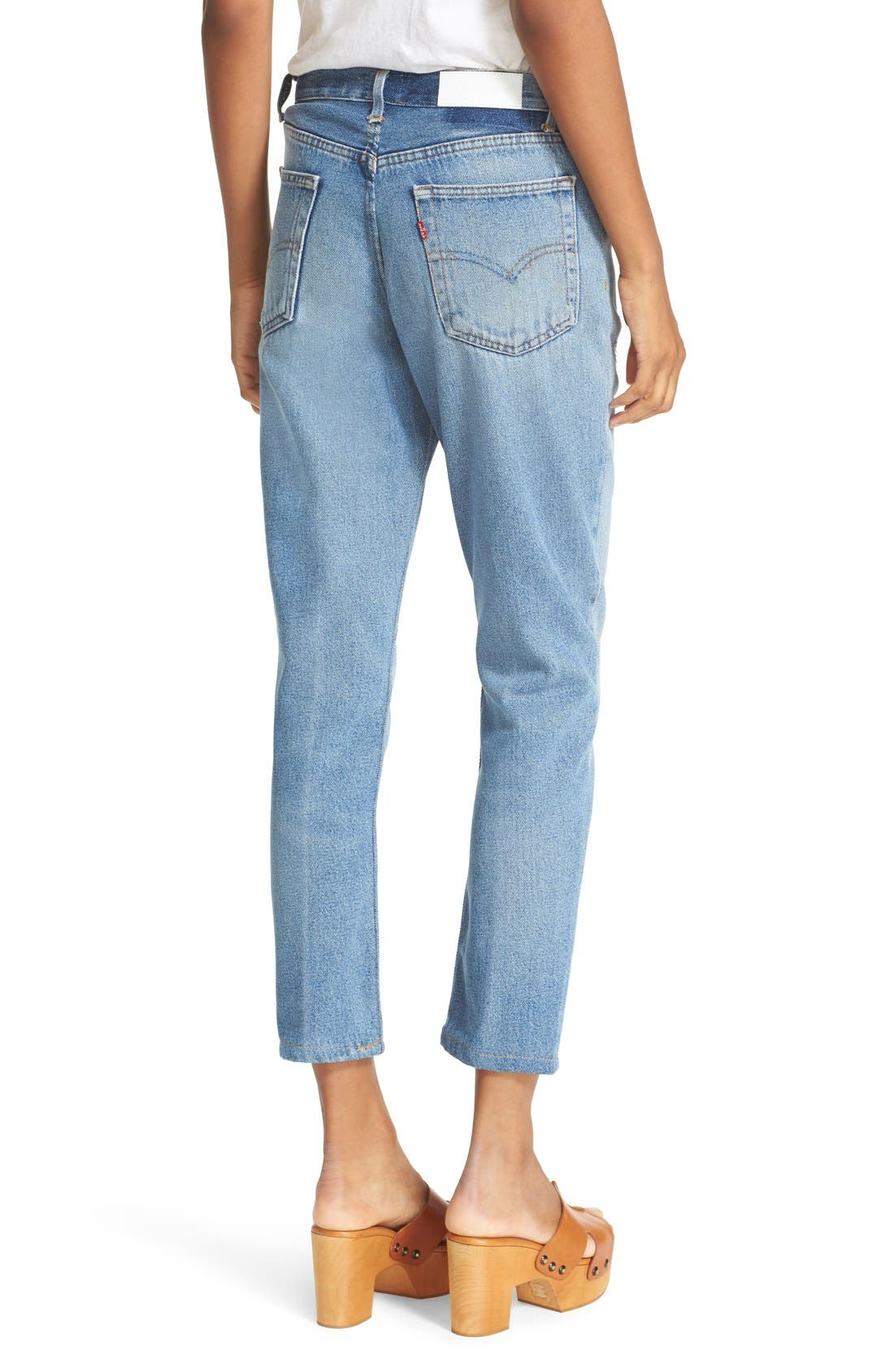 RE/DONE,                             Reconstructed High Waist Ankle Crop Jeans,                             Alternate thumbnail 5, color,                             400