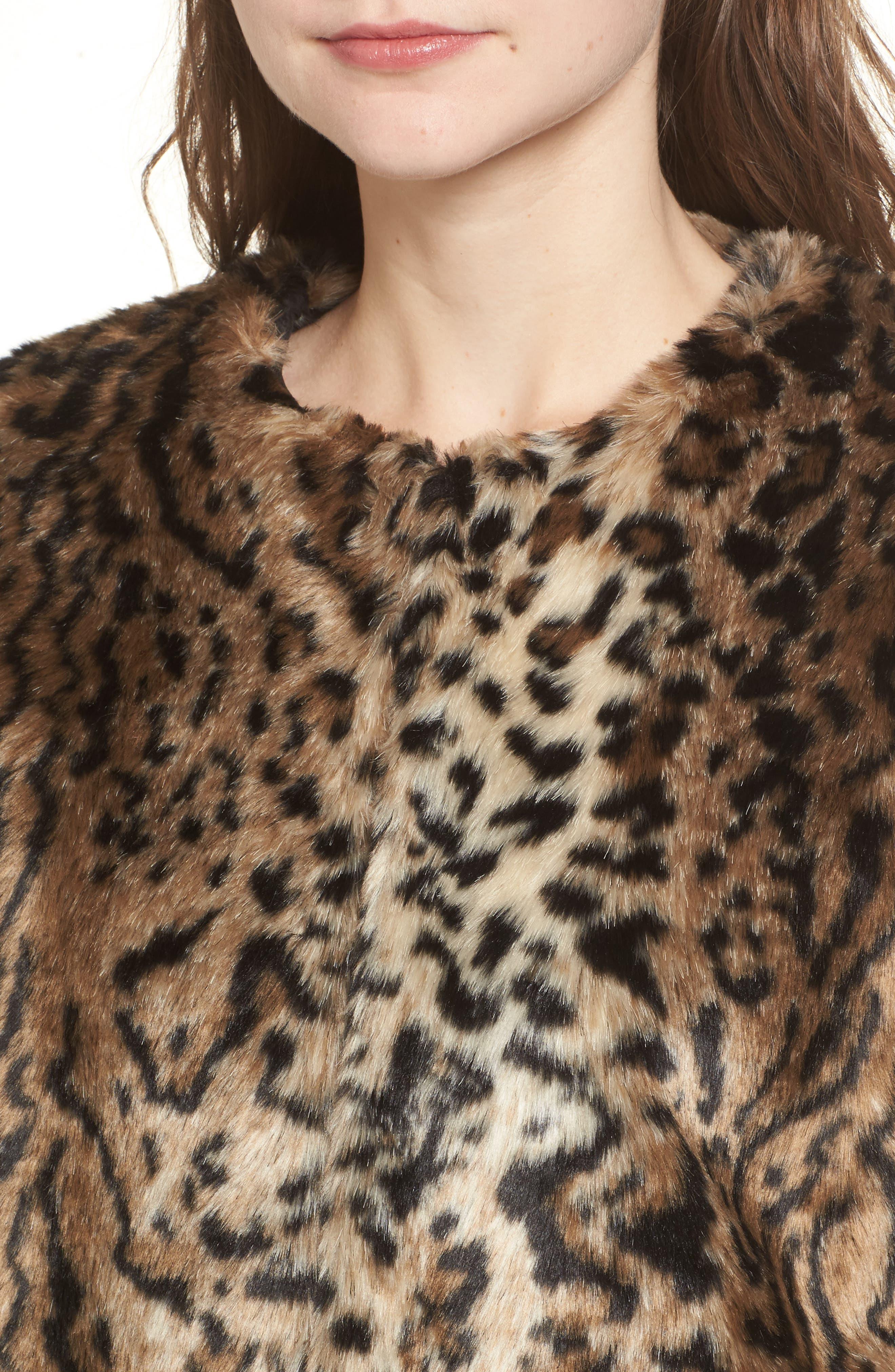 McKinley Leopard Print Faux Fur Jacket,                             Alternate thumbnail 4, color,                             238