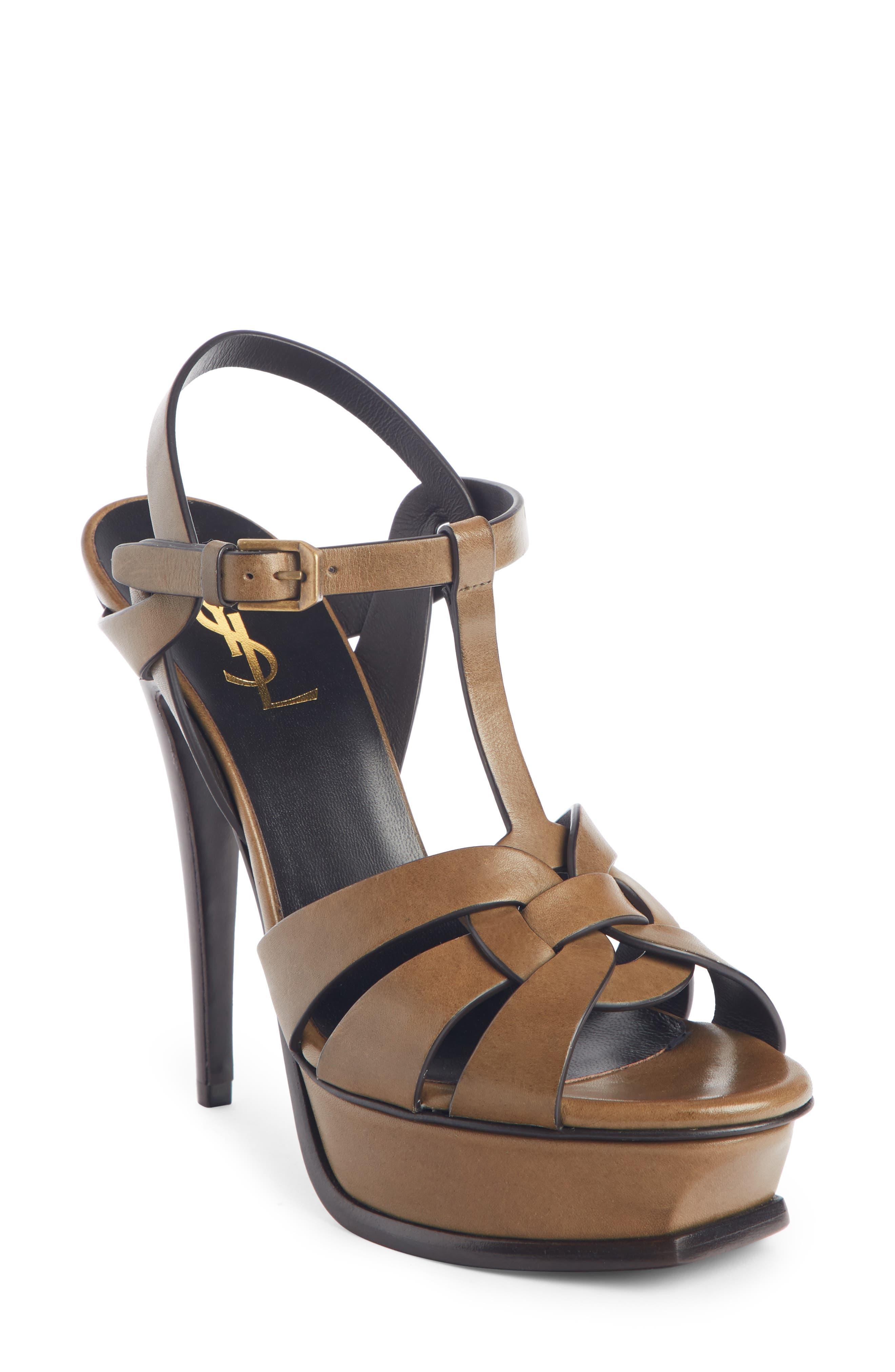 SAINT LAURENT Tribute Platform Sandal, Main, color, TUNDRA