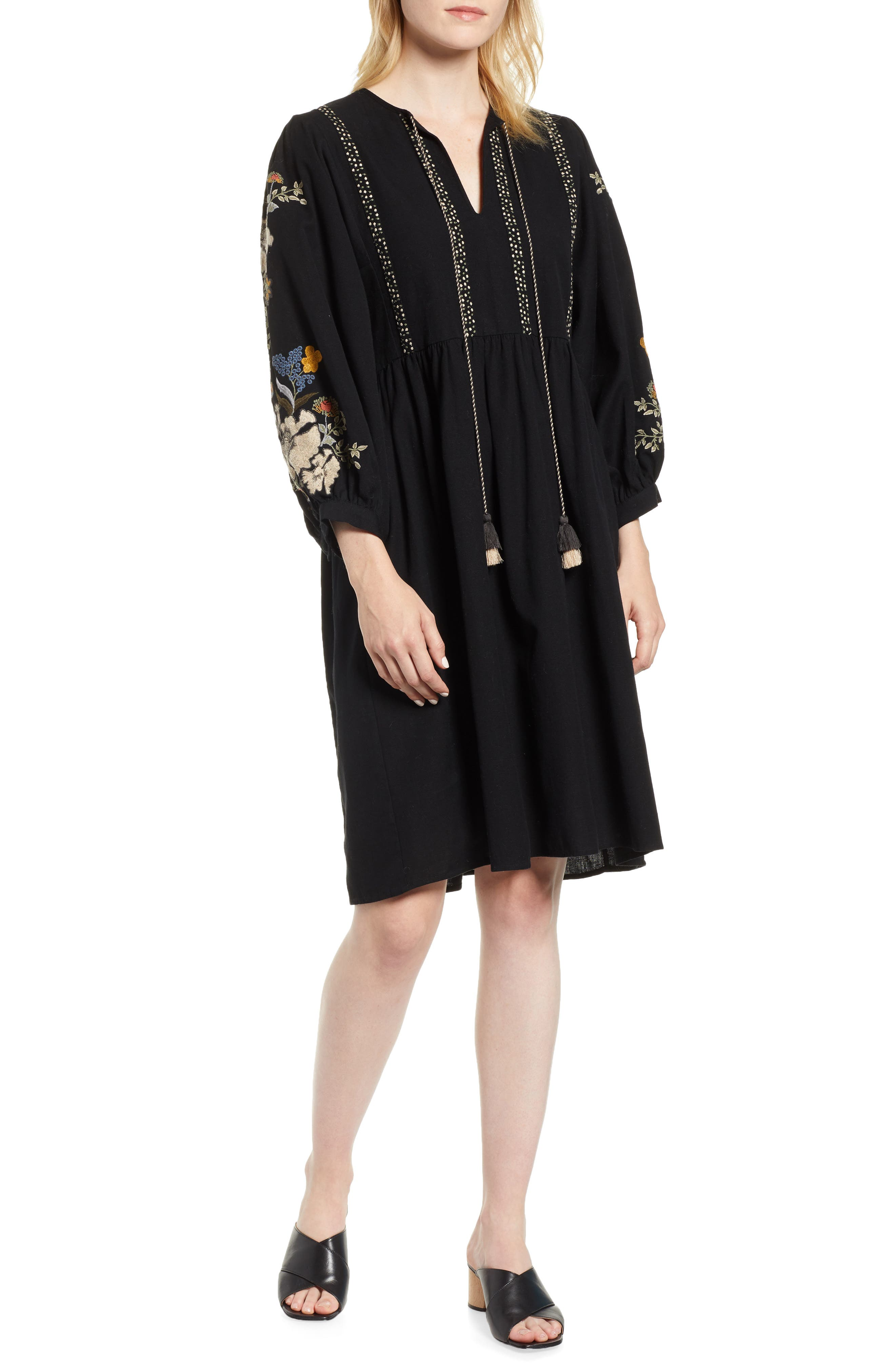 Embroidered Peasant Dress,                         Main,                         color, BLACK