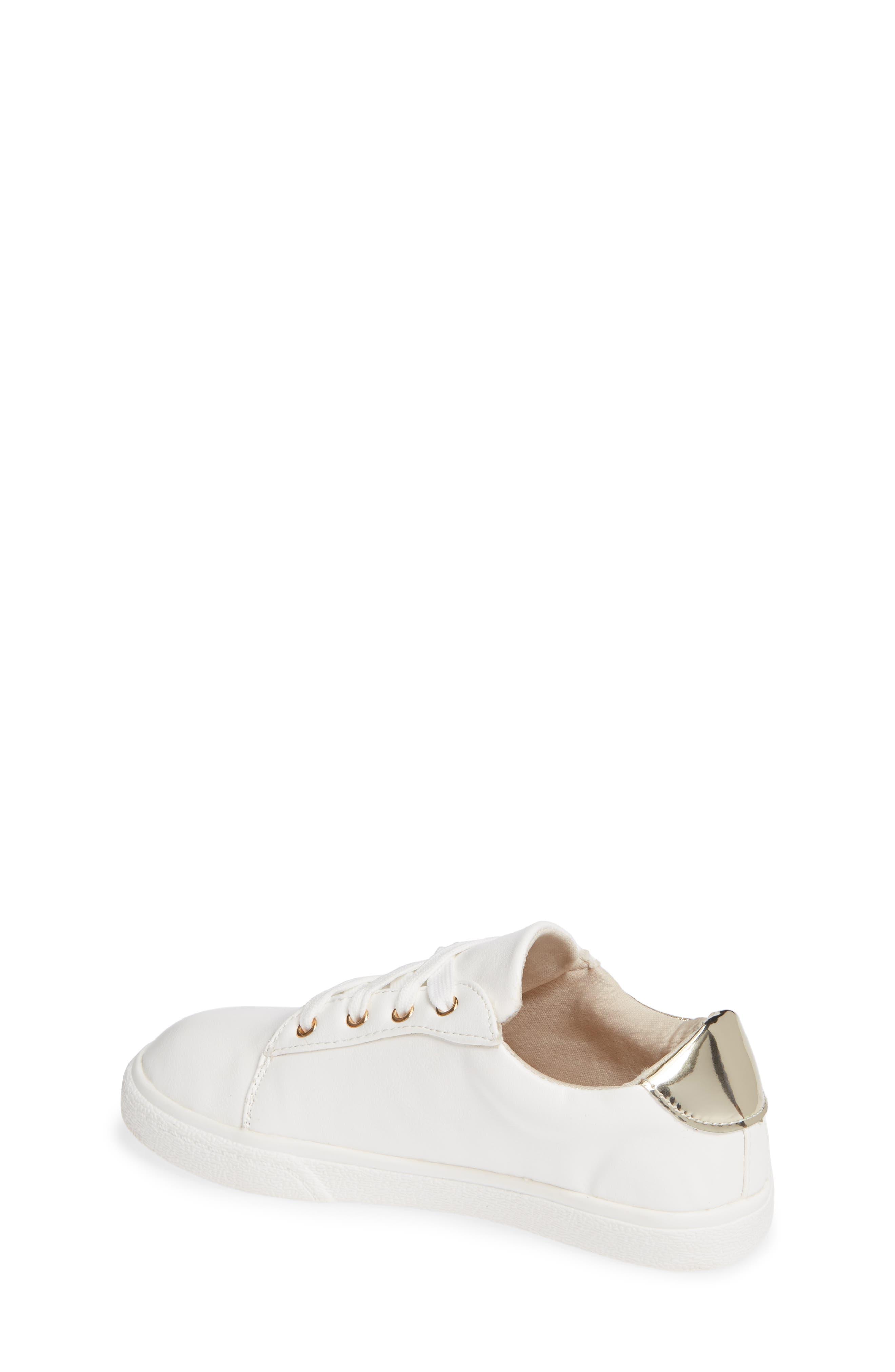 Miss Harper Appliqué Glitter Sneaker,                             Alternate thumbnail 2, color,                             WHITE W/ GOLD STAR