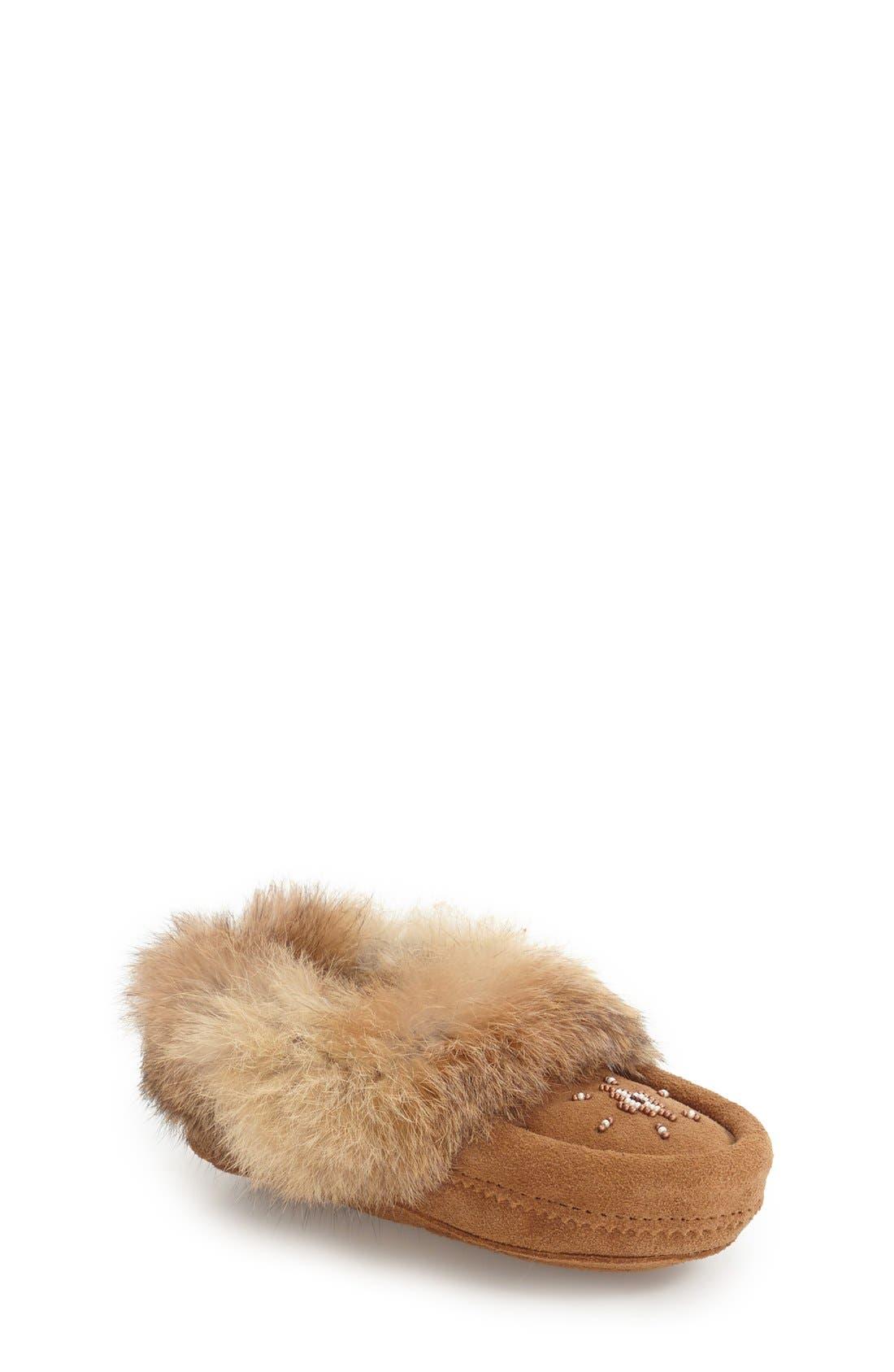Genuine Rabbit Fur Moccasin,                             Main thumbnail 5, color,