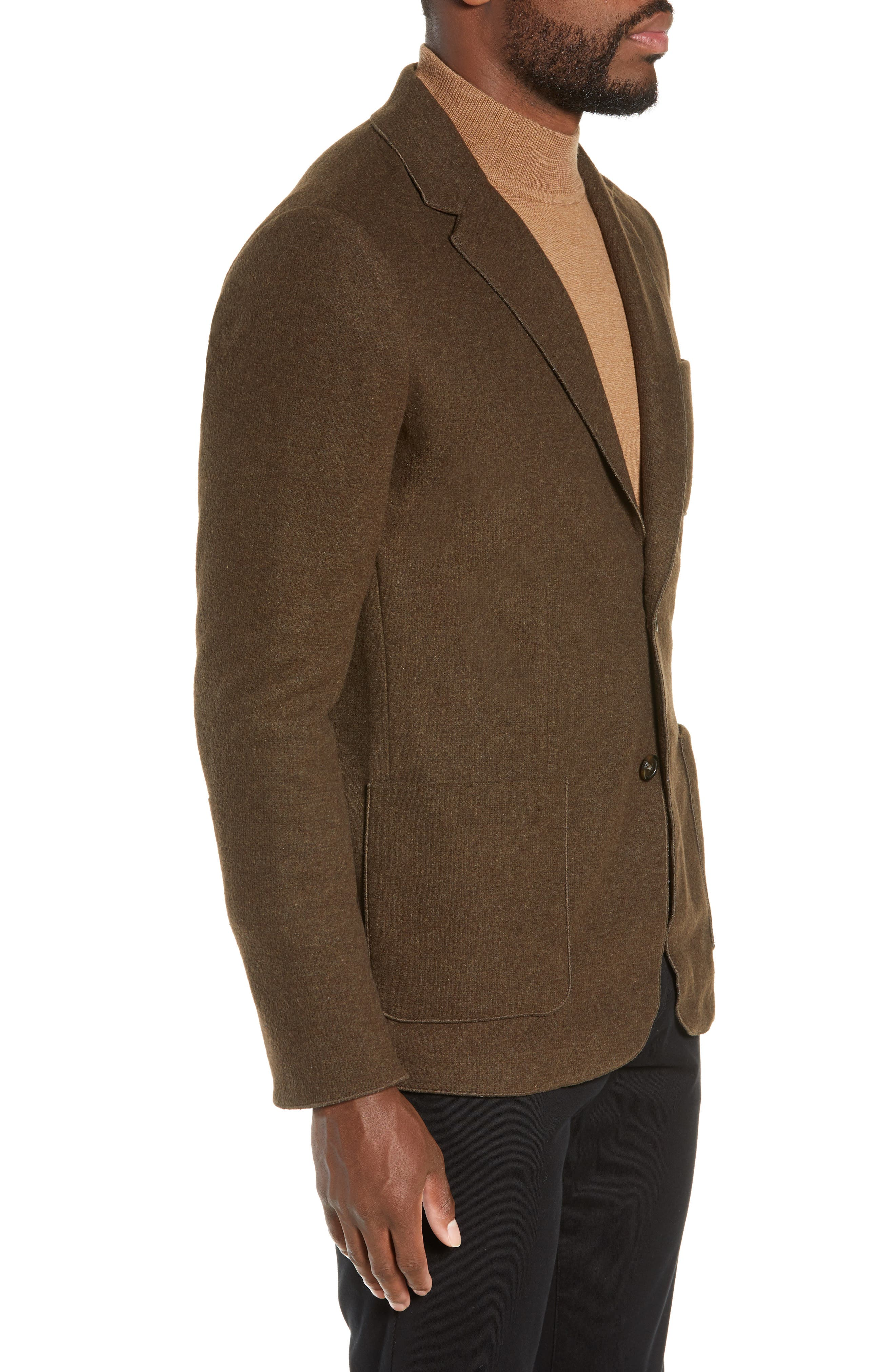 Plymouth Regular Fit Knit Sport Coat,                             Alternate thumbnail 3, color,                             BROWN