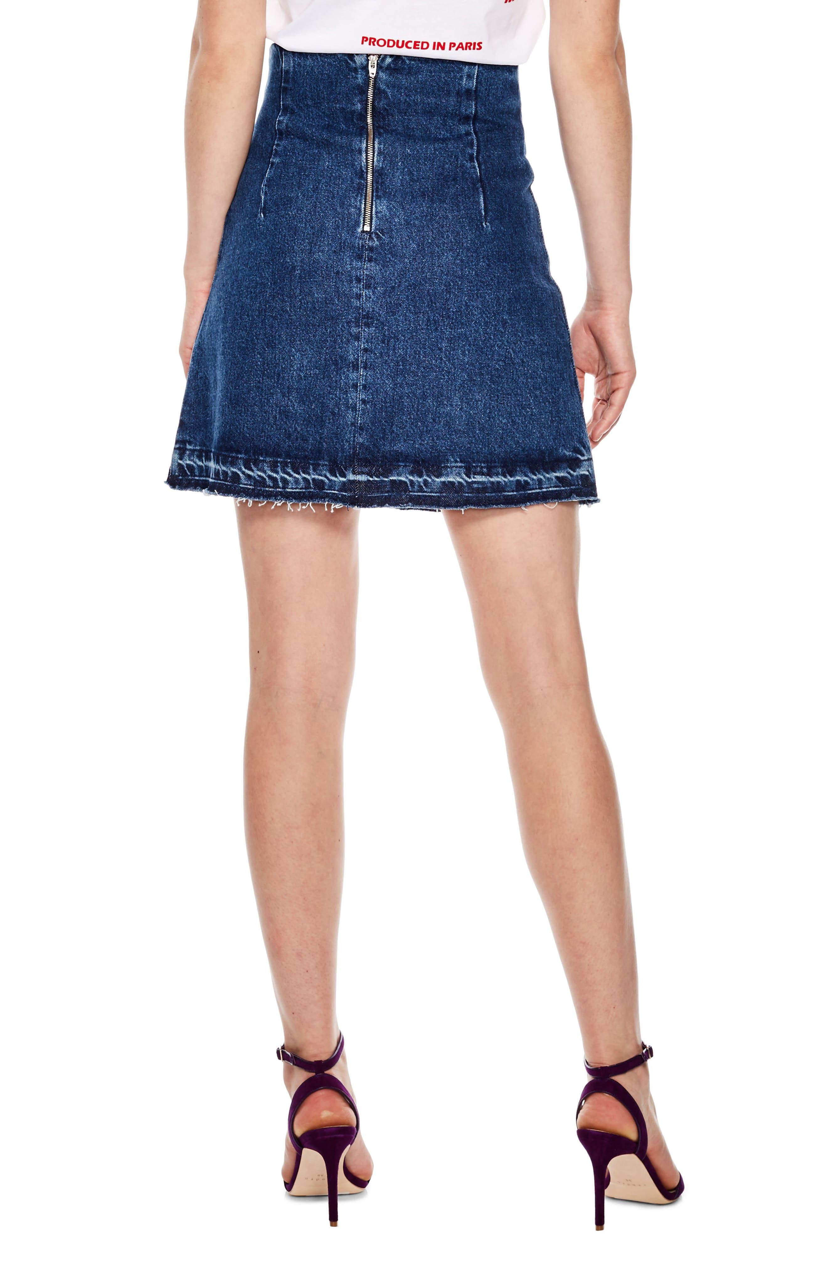 Blue Vintage Denim Mini Skirt,                             Alternate thumbnail 2, color,                             400