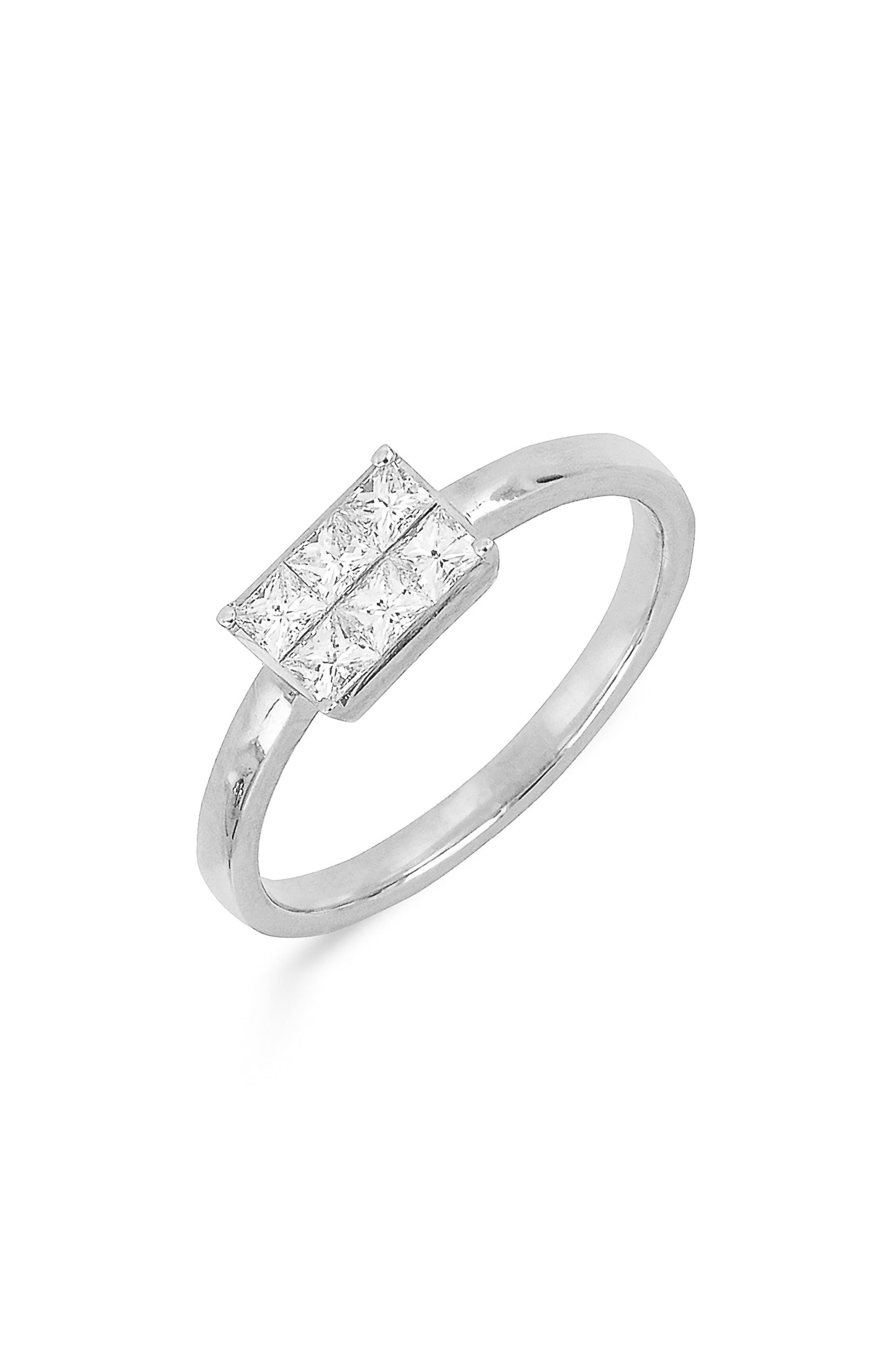 Princess Diamond Ring,                             Main thumbnail 1, color,                             WHITE GOLD