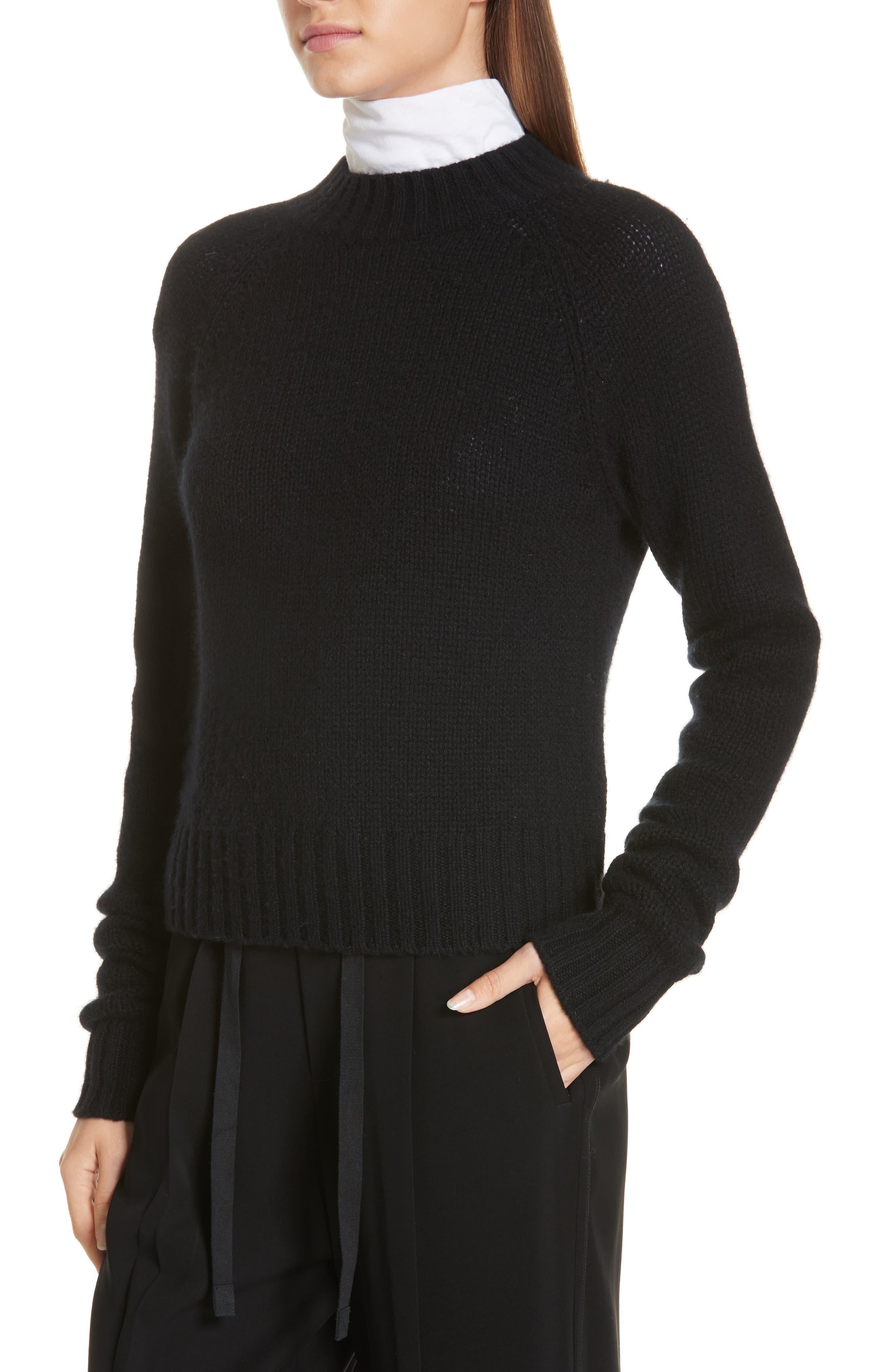 Shrunken Cashmere Sweater,                             Alternate thumbnail 4, color,                             BLACK