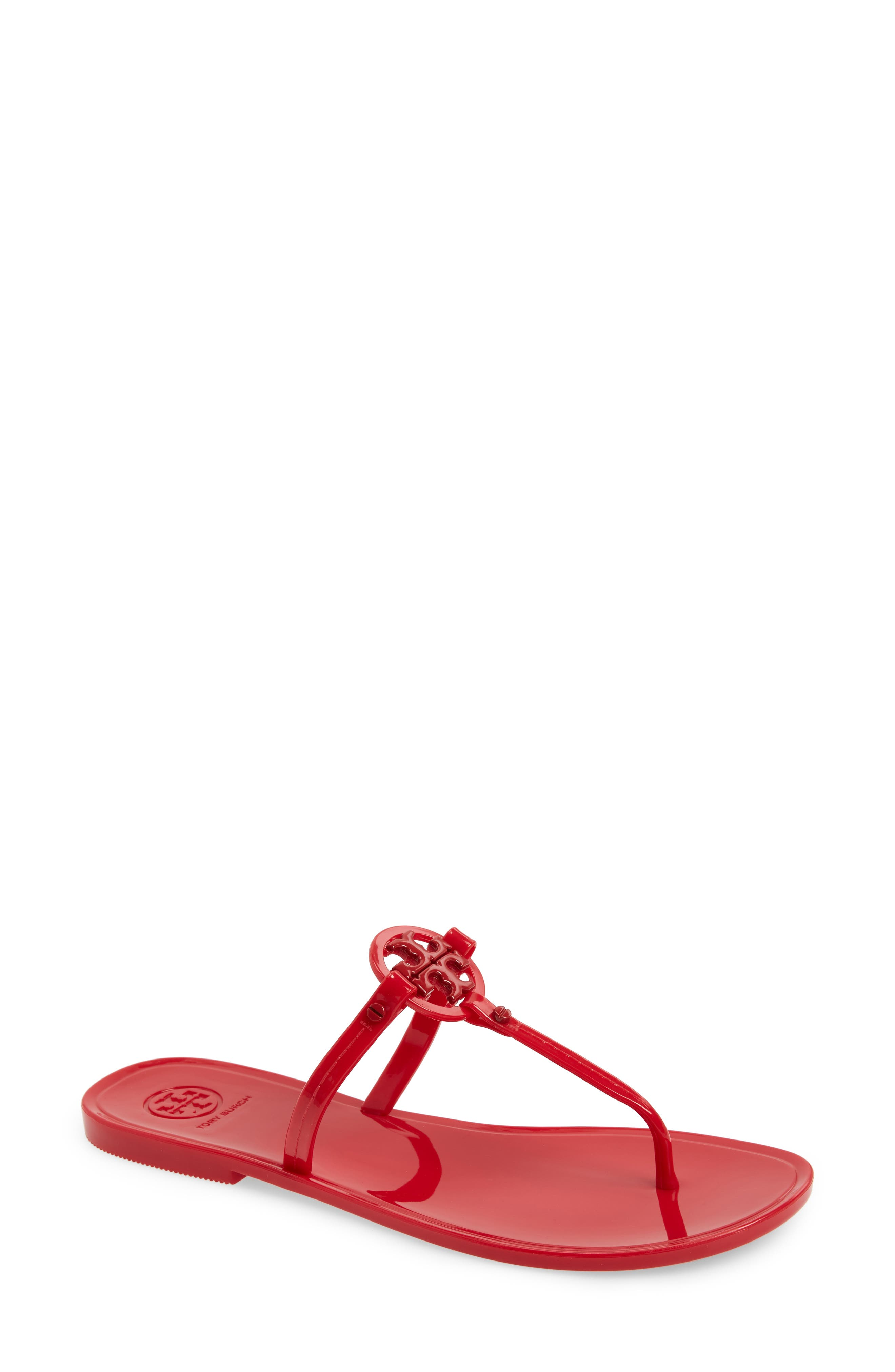 TORY BURCH,                             'Mini Miller' Flat Sandal,                             Main thumbnail 1, color,                             RED