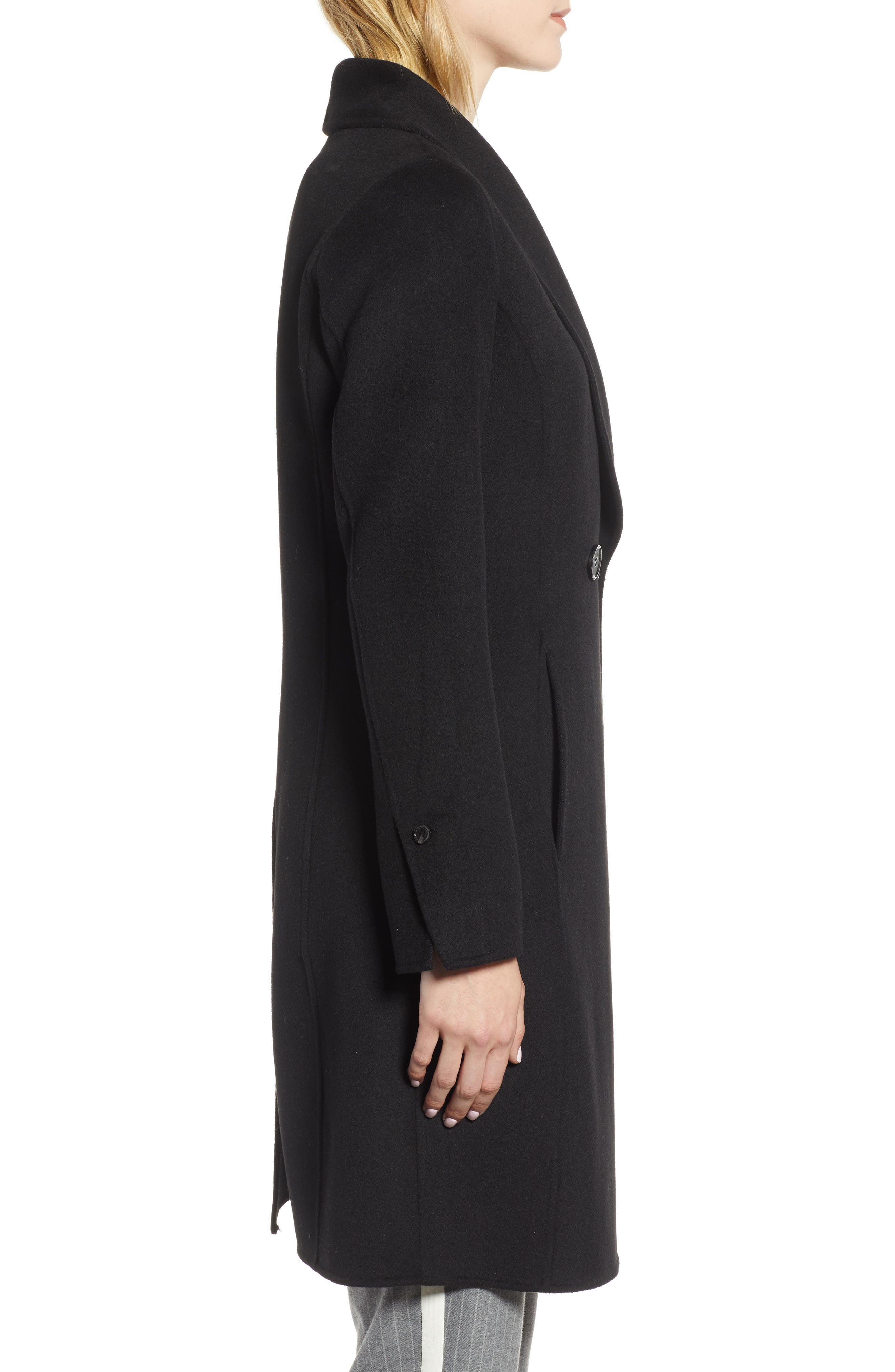 Caleigh Fitted Wool Blend Coat,                             Alternate thumbnail 3, color,                             BLACK