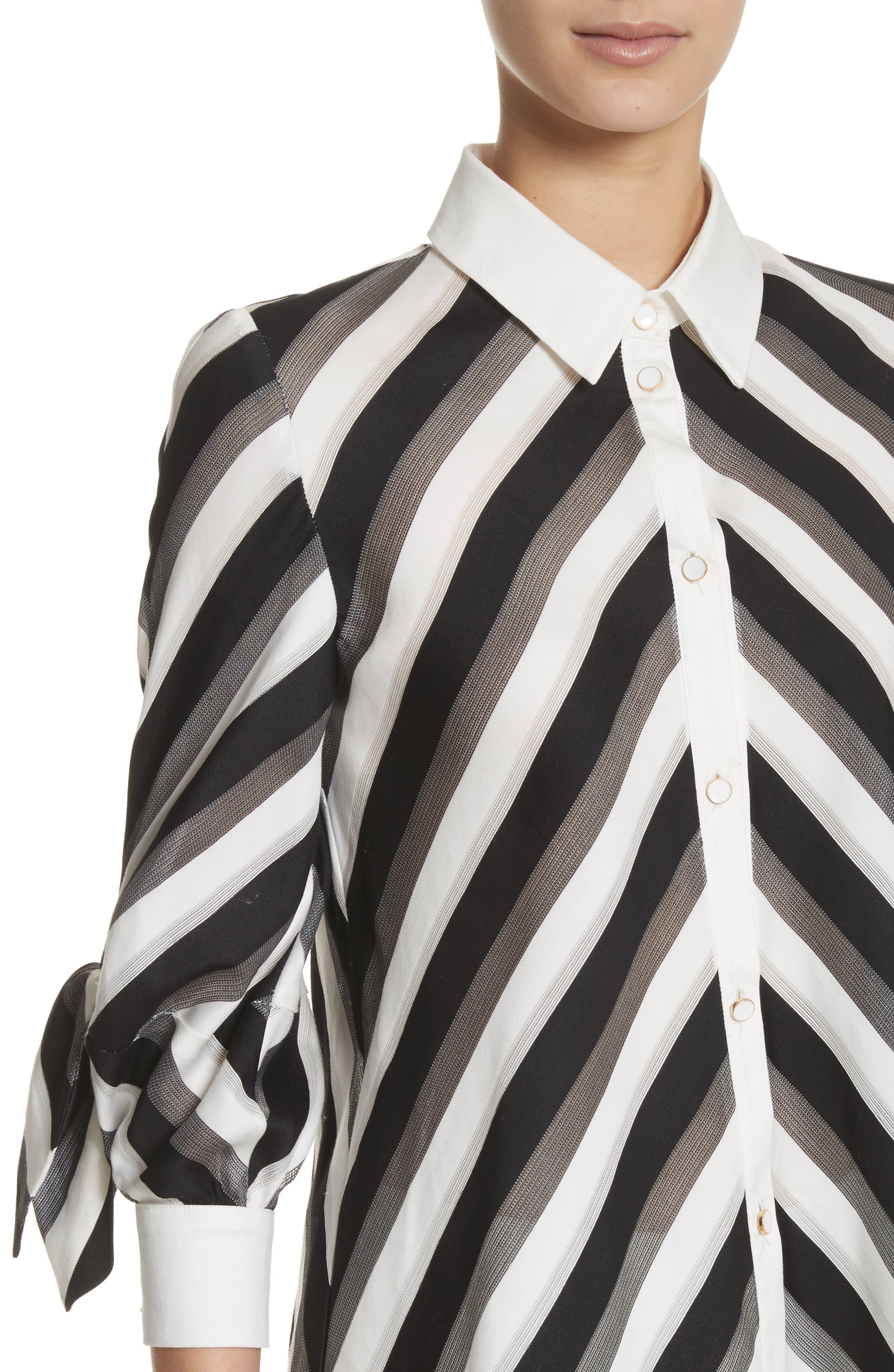 Stripe Bow Sleeve Shirt,                             Alternate thumbnail 4, color,
