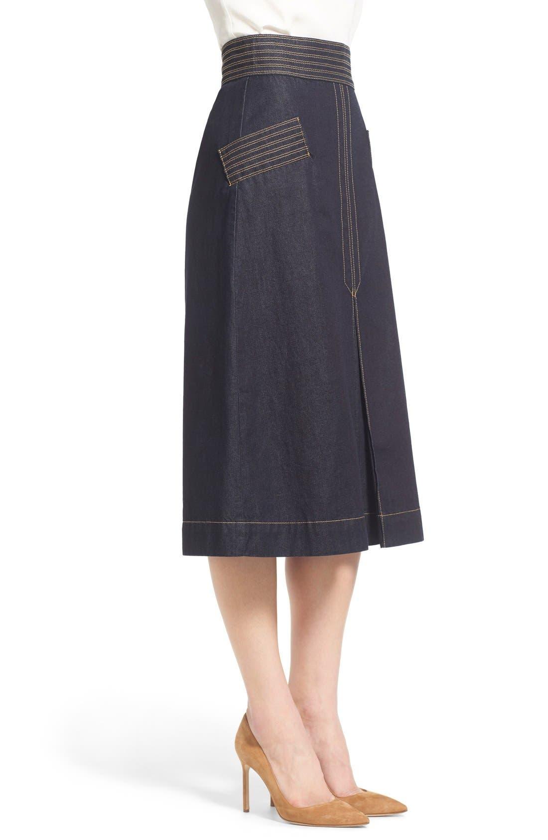 Retro Denim Skirt,                             Alternate thumbnail 3, color,                             410